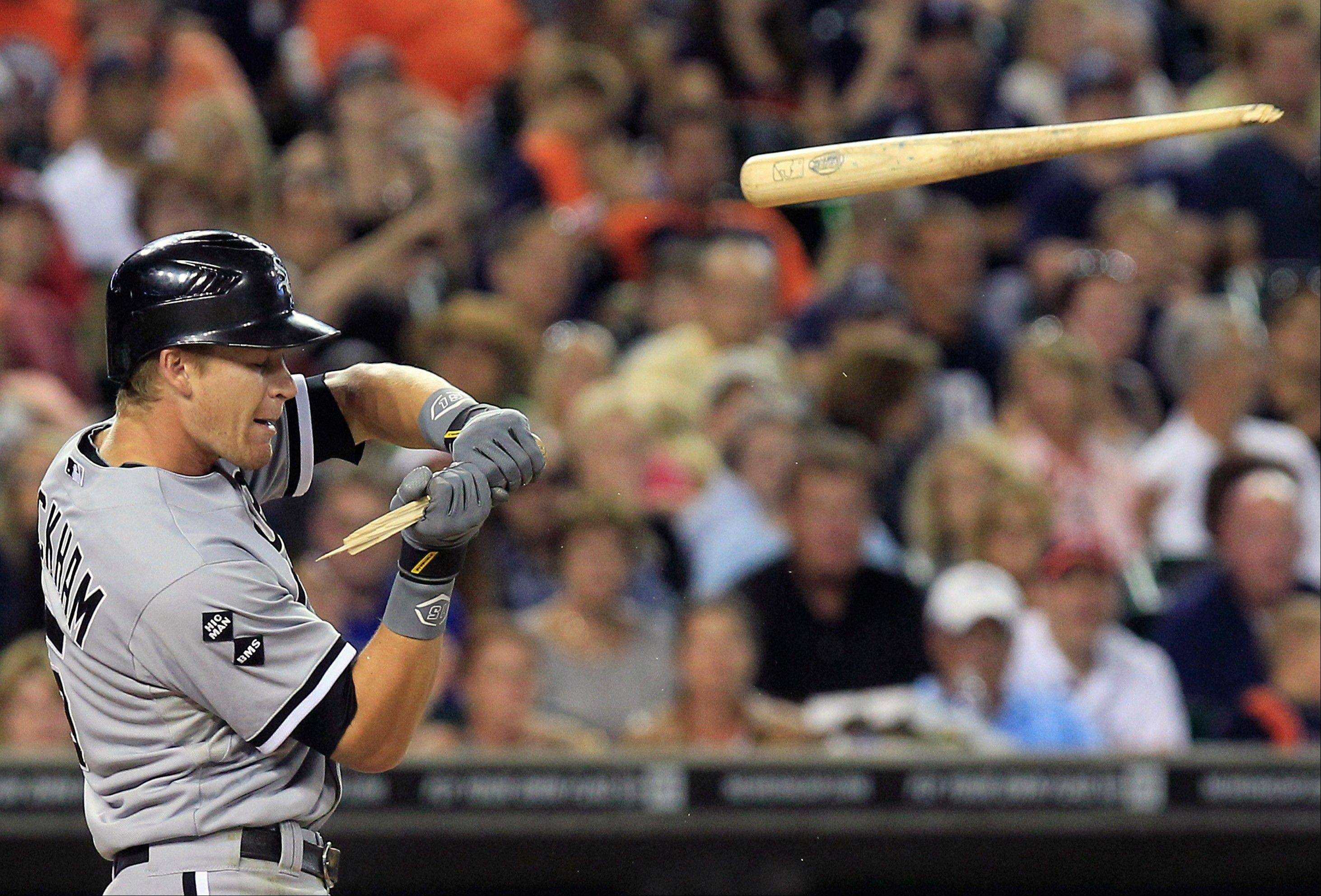 Gordon Beckham has been struggling at the plate for the White Sox, going just 4 for 33 over the last 10 games. Here he breaks his bat on a checked swing against the Tigers last week.
