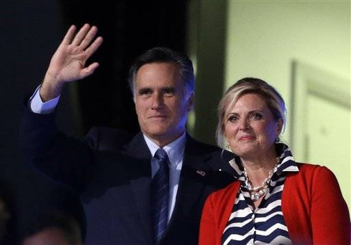 Mitt Romney and his wife Ann attend the Opening Ceremony at the 2012 Summer Olympics July 27 in London.