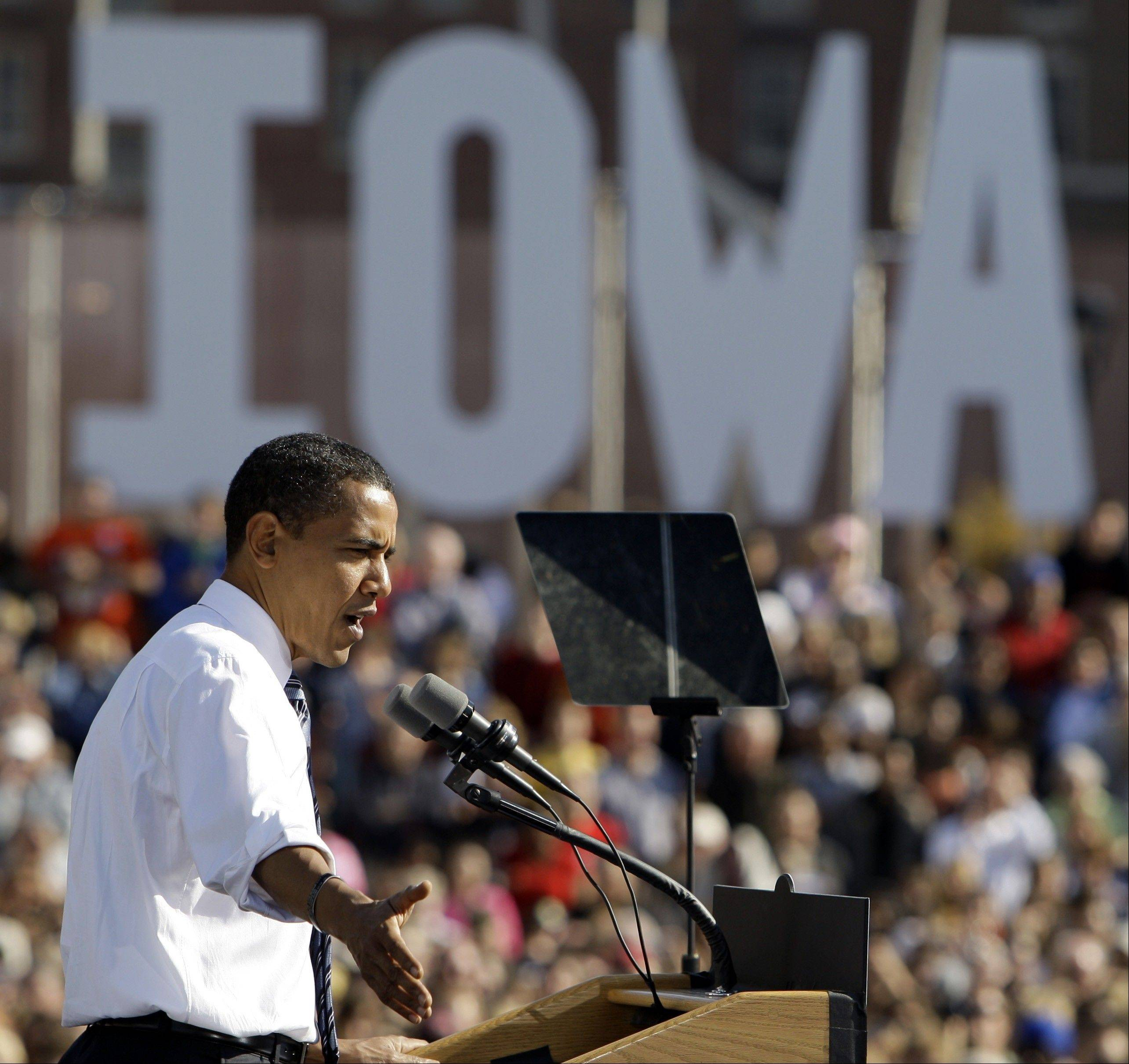 Associated Press/Oct. 21, 2008 Then-Democratic presidential candidate Sen. Barack Obama, an Illinois Democrat, speaks at a rally at Western Gateway Park in Des Moines, Iowa. The president�s re-election campaign is increasingly sounding like a nostalgia tour.