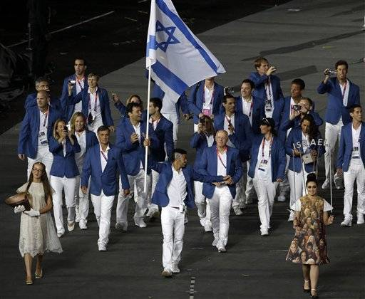Israel's Shahar Zubari carries the flag during the Opening Ceremony at the 2012 Summer Olympics July 27 in London.