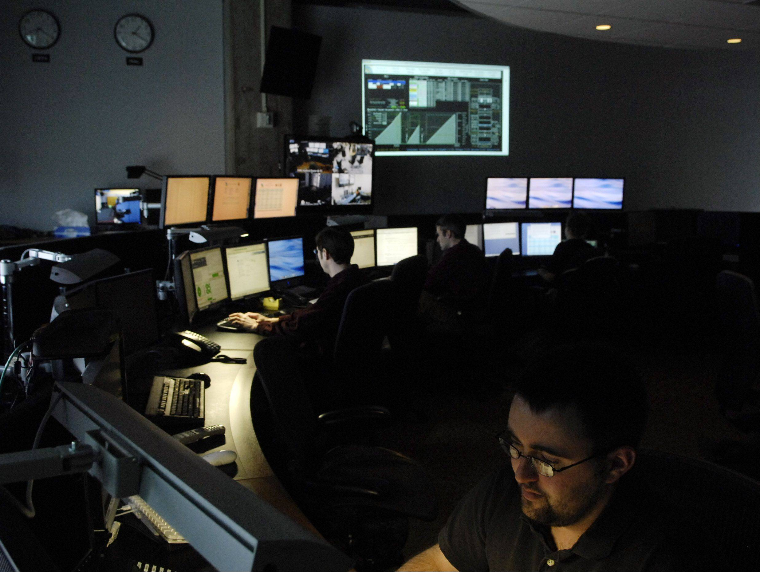 The remote operations center at Fermilab, which monitors experiments going on at the Large Hadron Collider near Geneva, Switzerland. Those experiments include the two that recently announced potential findings of evidence of the Higgs boson particle.