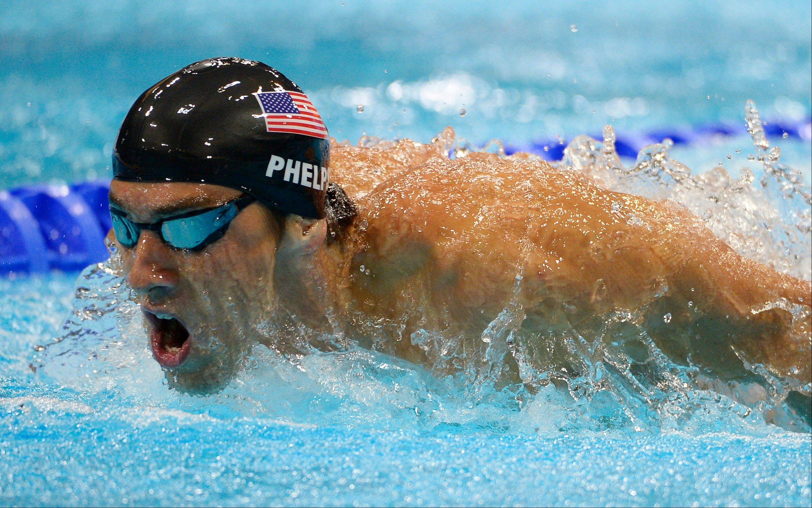 United States� Michael Phelps competes in the men�s 400-meter individual medley swimming final at the Aquatics Centre in the Olympic Park during the 2012 Summer Olympics in London, Saturday, July 28, 2012.