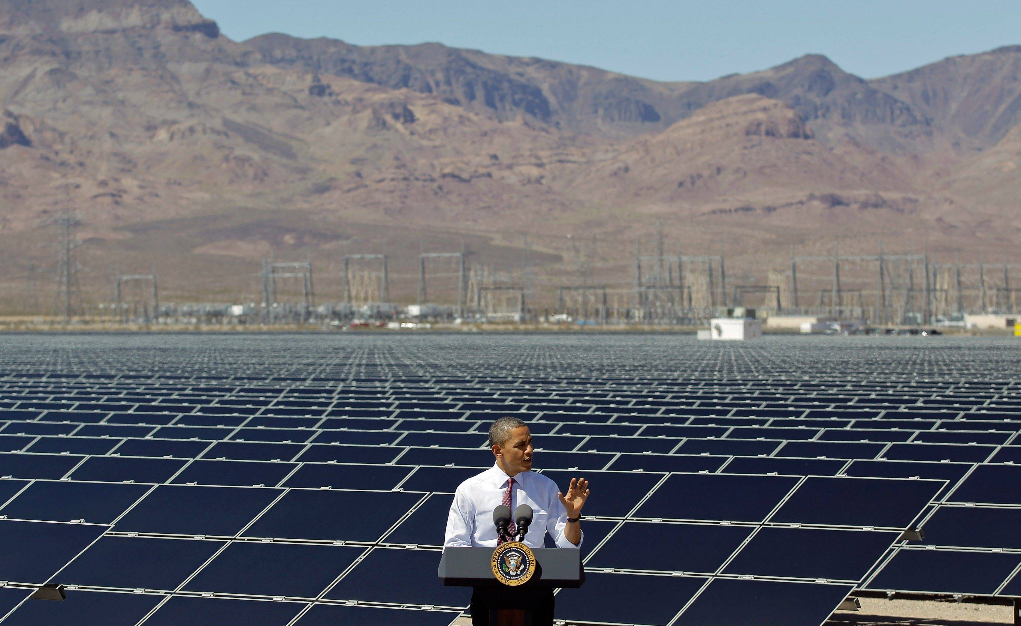 President Barack Obama speaks after touring Sempra's Copper Mountain Solar 1 facility in Boulder City, Nev., on March 21. Obama and his Republican rival, Mitt Romney, have visited the state, competing strenuously for Nevada's six electoral votes in what has become one of the most intense swing-state contests.