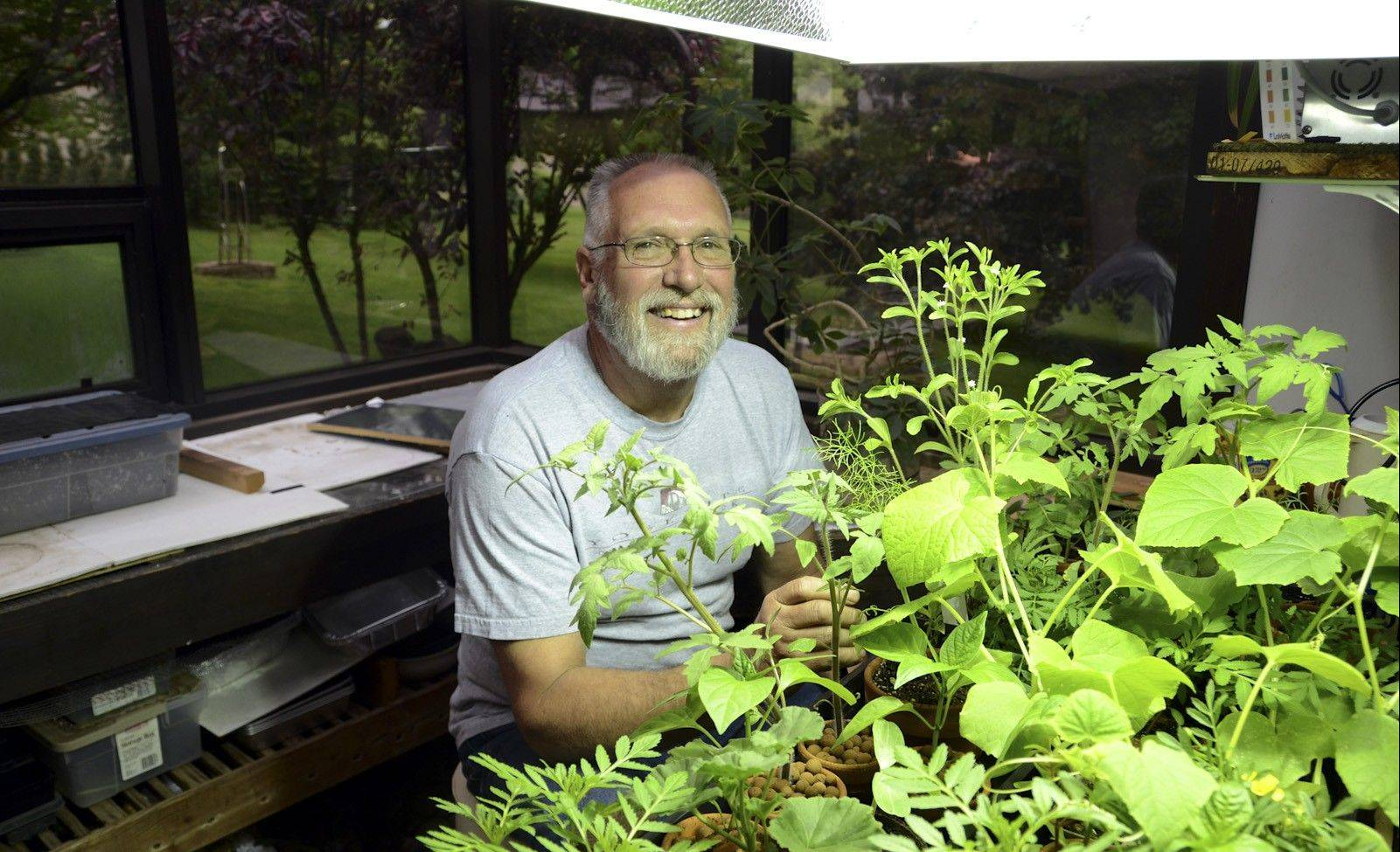 Hank Brinzer grows plants using a technique called aquaponics. Water from a fish tank is pumped up to a tray of plants to feed them. The water then slowly drains back into the tank.