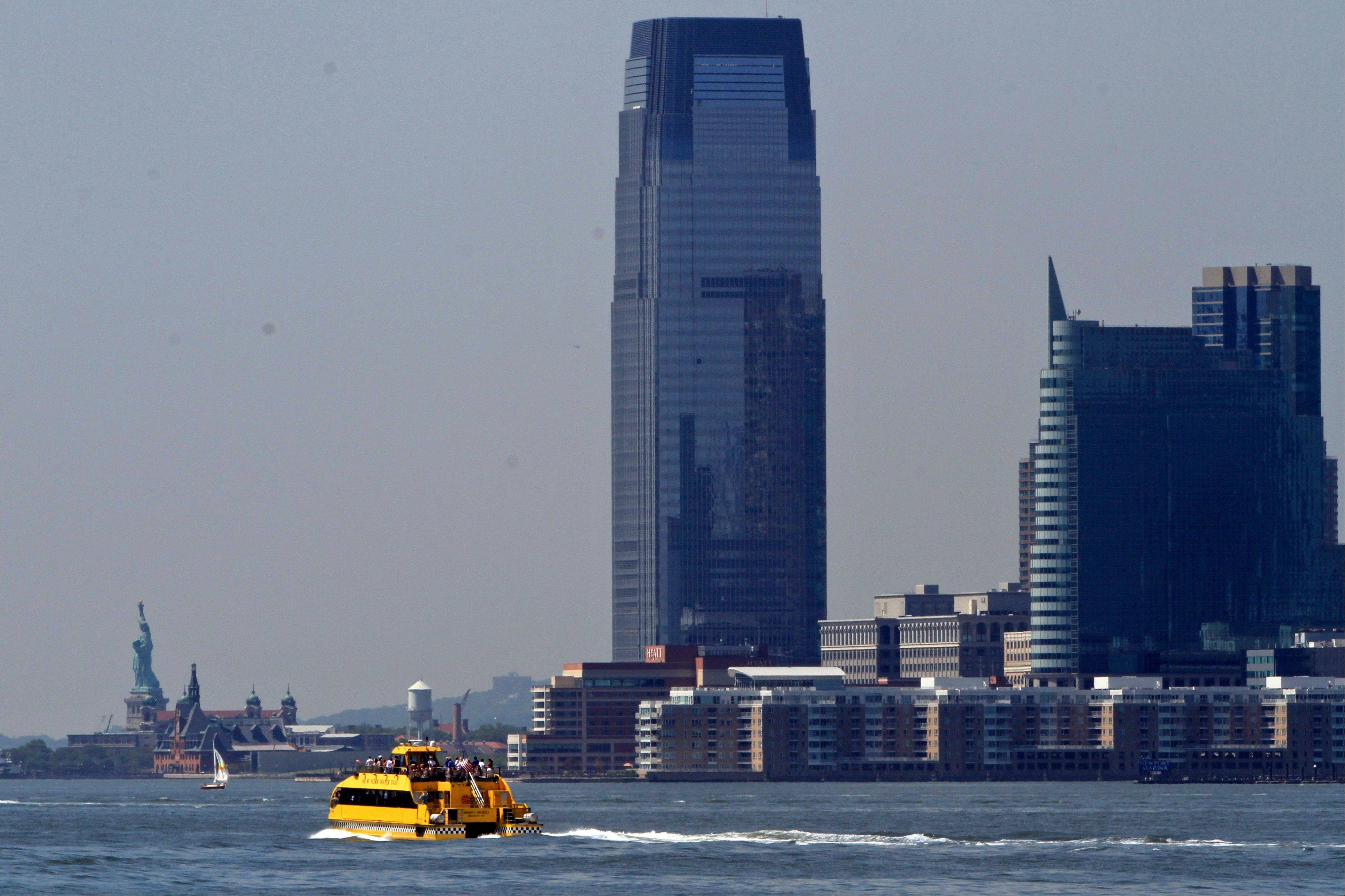 A water taxi is seen from Hudson River Park.