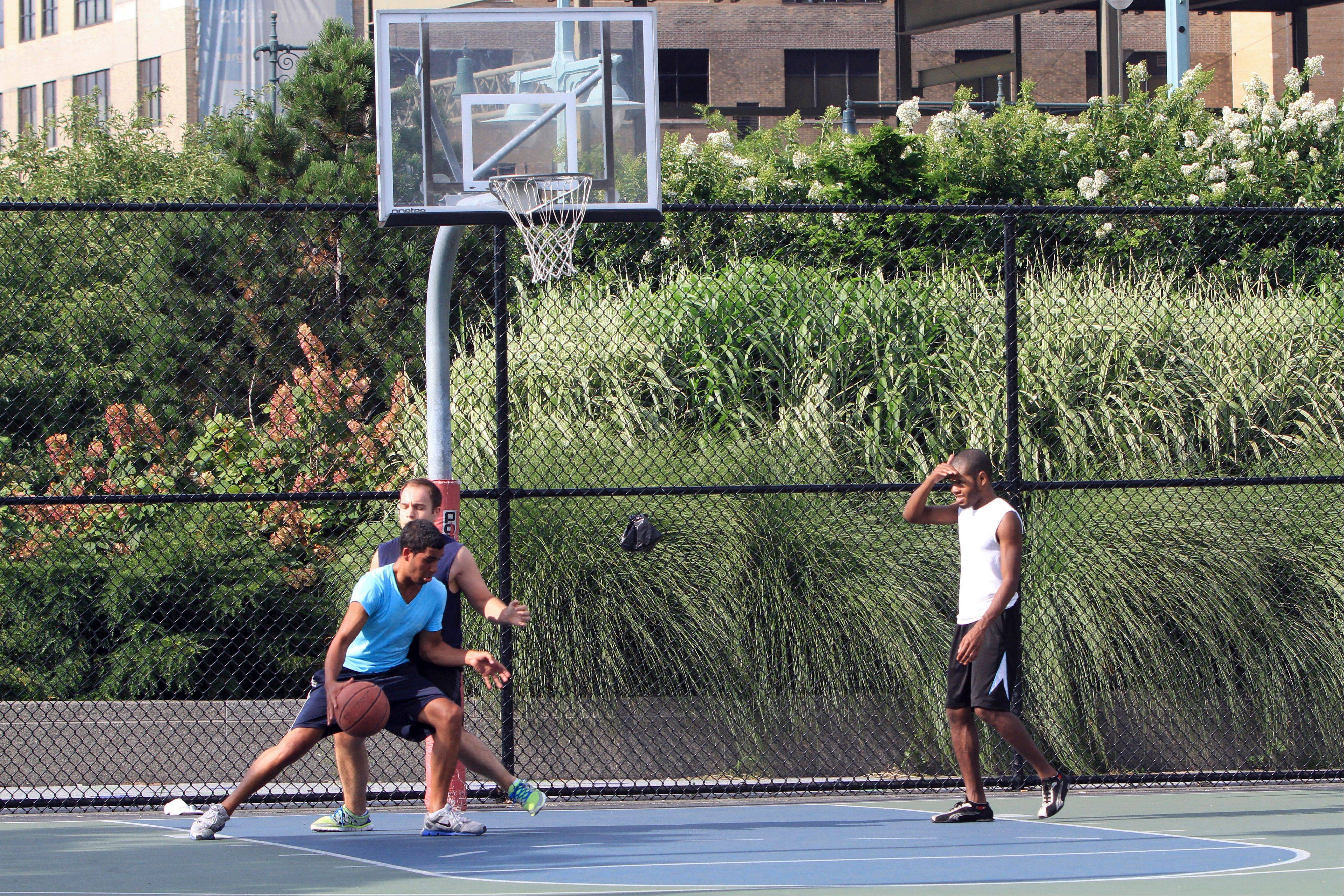Basketball is available in New York's Hudson River Park in Lower Manhattan. The park also features a bike path, green spaces, playgrounds and recreation ranging from mini-golf and skateboarding to kayaking.