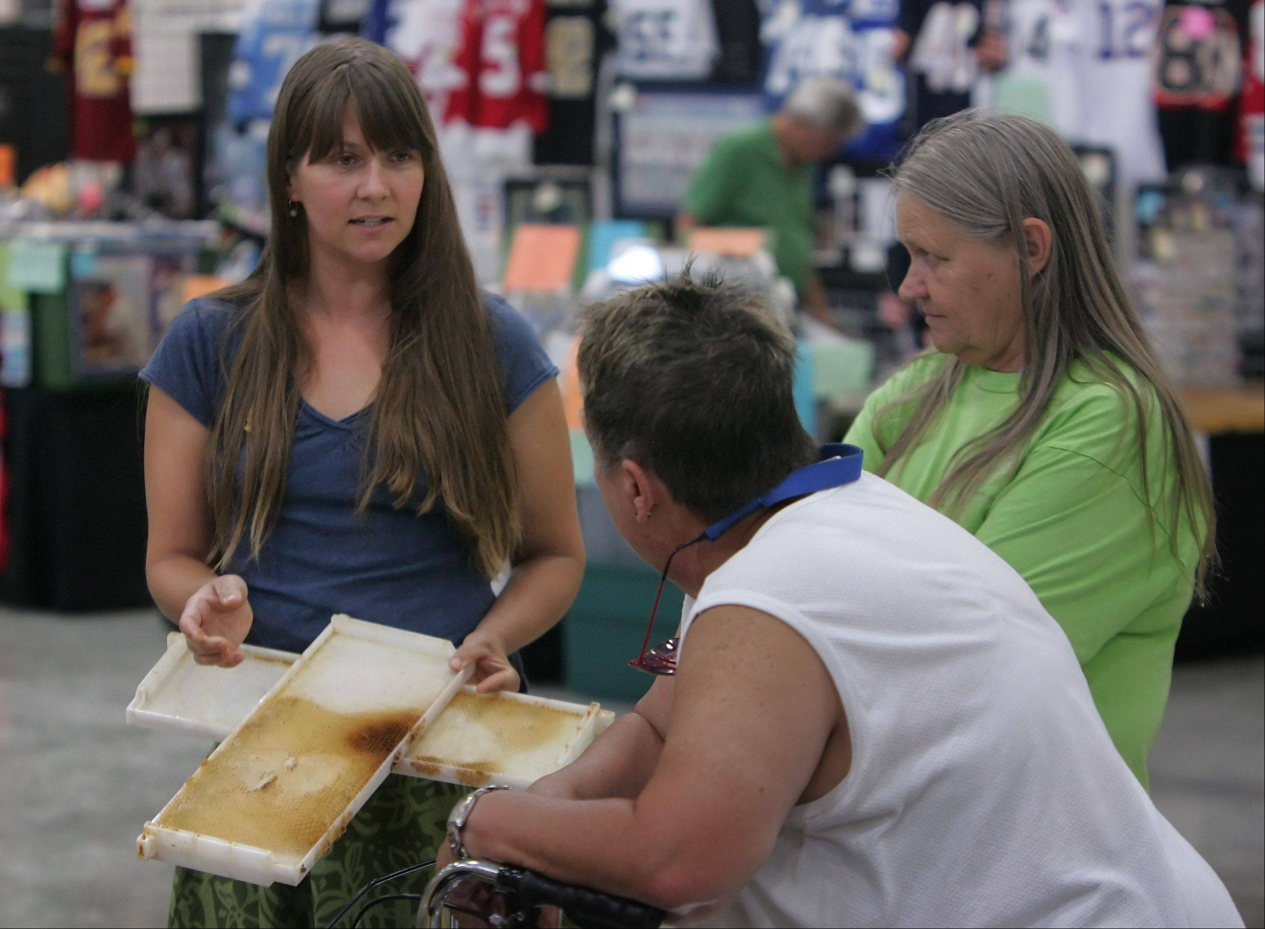 Beekeeper Sarah Westlund, of Mundelein, left, explains about beehives at the Lake County Beekeeper's Association booth during last day of the 84th Annual Lake County Fair Sunday in Grayslake.
