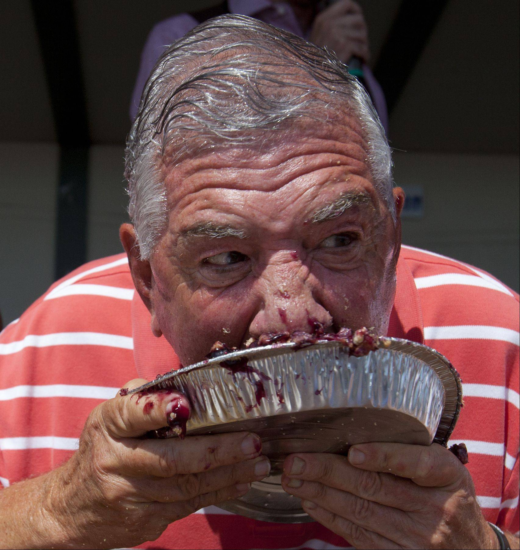 Joe Schwan of Ivanhoe, IL digs his face into his second blueberry pie during an old-fashioned pie eating contest in which contestants had five minutes to eat the most at the Lake County Fair on Saturday. Joe won the adult section of the pie eating contest eating a pie and a half.