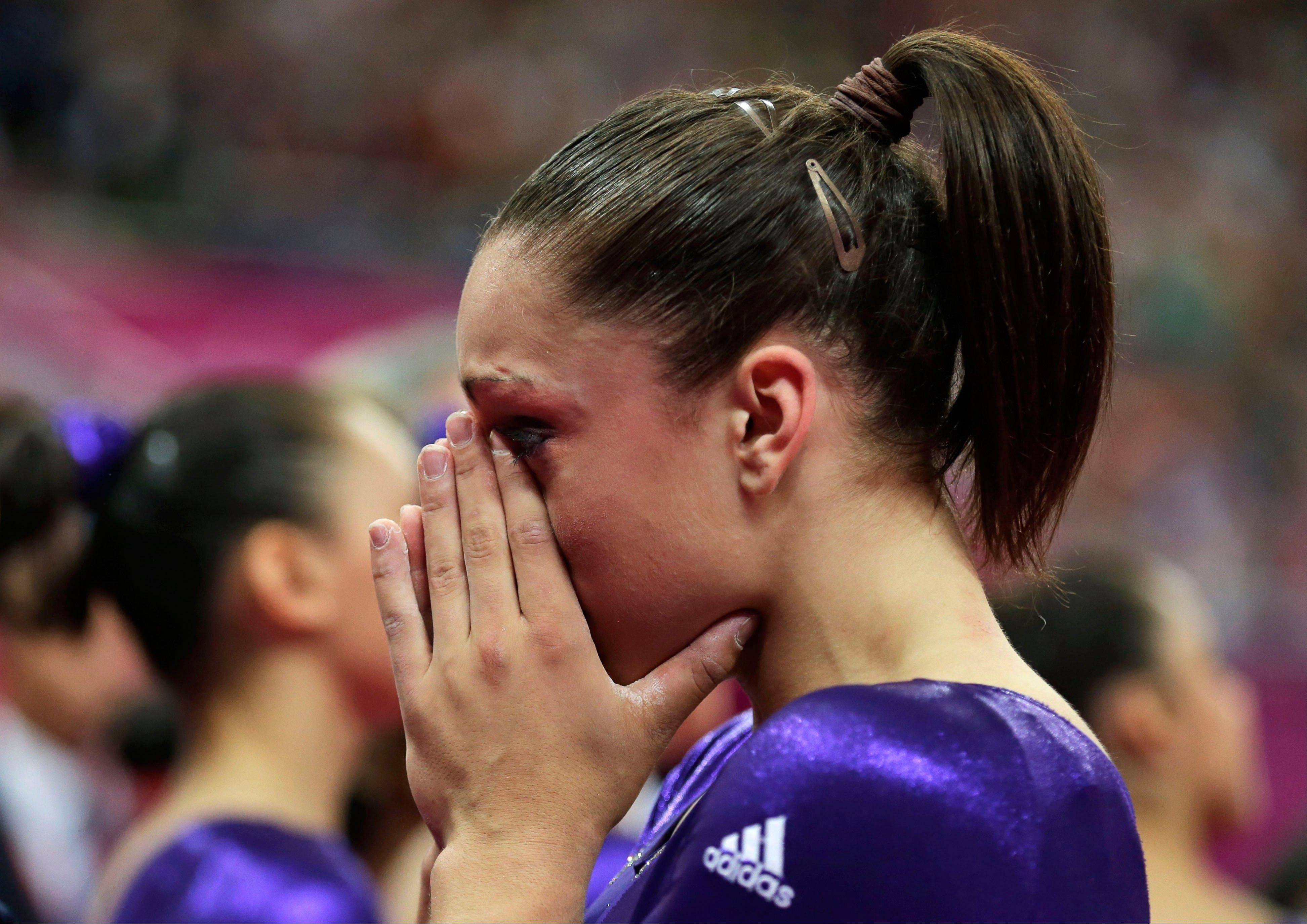 U.S. gymnast Jordyn Wieber cries Sunday after failing to qualify for the women's all-around finals during the Artistic Gymnastics women's qualification at the 2012 Summer Olympics in London.