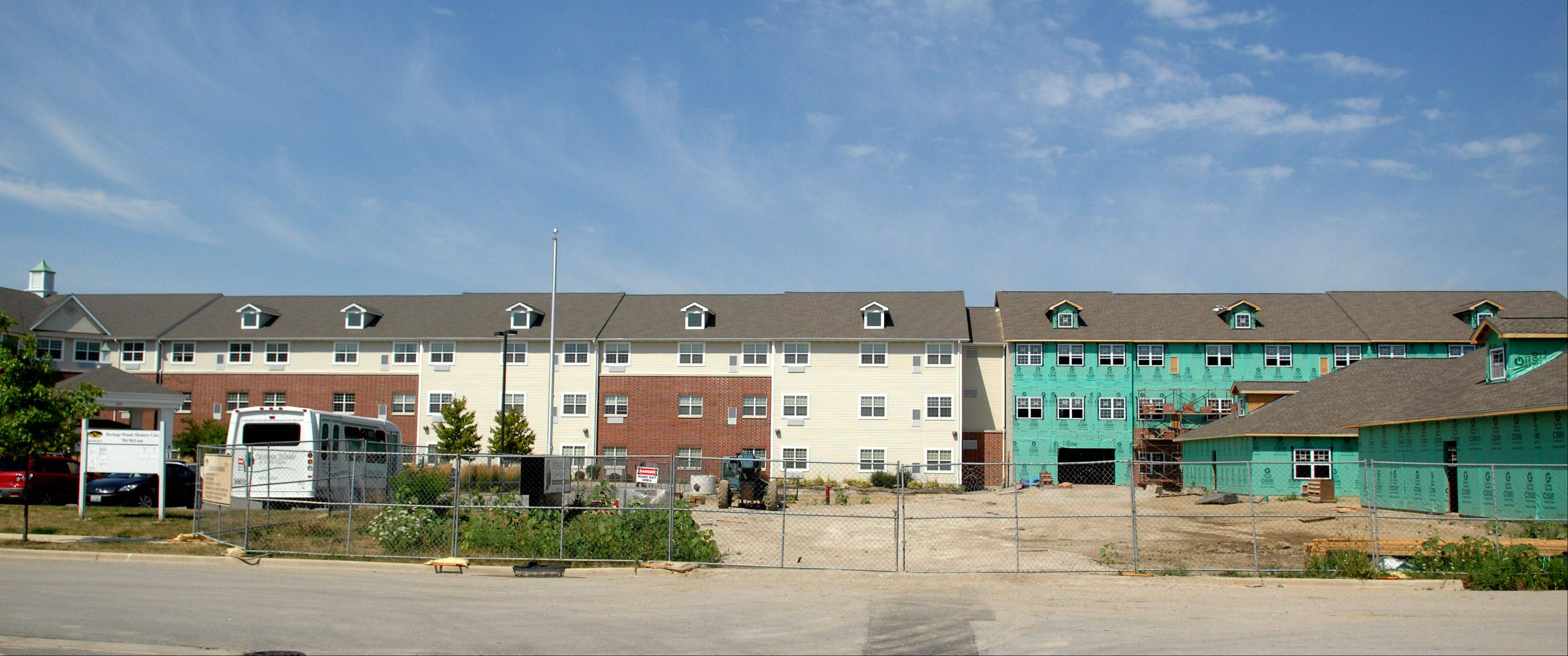 The Illinois Department of Healthcare and Family Services chose Heritage Woods of South Elgin as one of five locations for an affordable memory care pilot project in its Supportive Living program. The 32 new affordable memory care apartments are under construction, along with 18 new assisted living units. All are expected to be finished by the end of October.