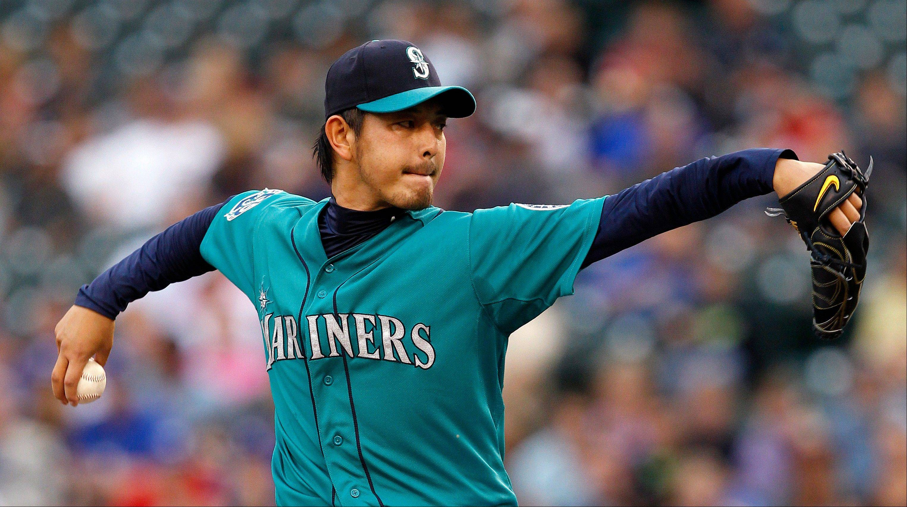Pitcher Hisashi Iwakuma�s 13 strikeouts Monday night against the Blue Jays broke the Mariners rookie record of 12 previously shared by Mark Langston, Randy Johnson and Freddy Garcia.