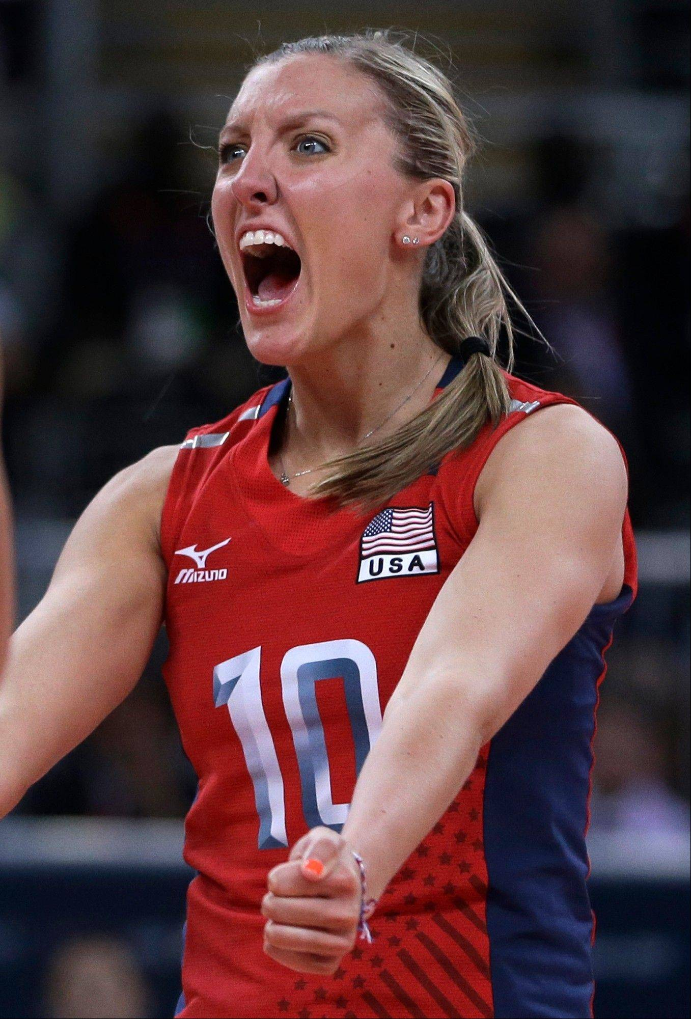 The United States� Jordan Larson celebrates during Monday�s volleyball match against Brazil at the London Olympics. Larson had 18 points for the top-ranked Americans.
