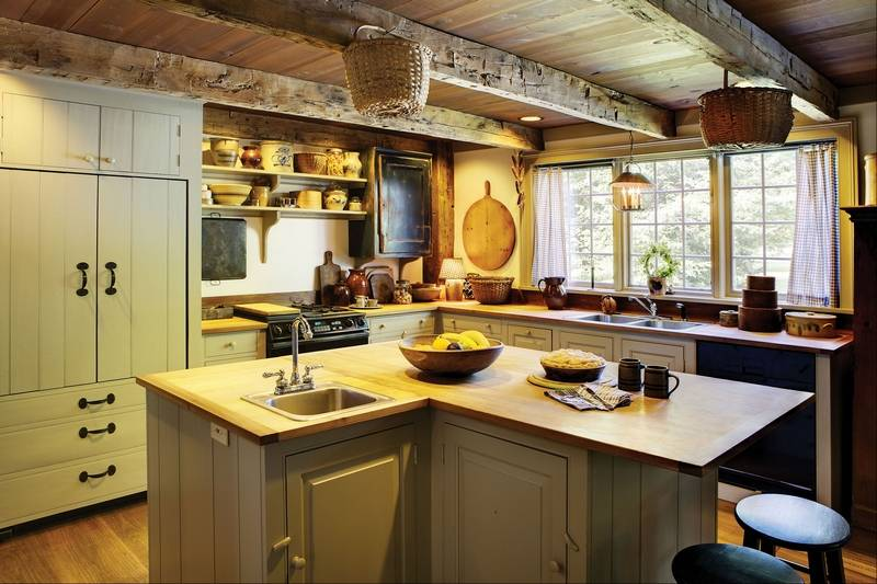 Farmhouse kitchens balance rustic style with modern function on Rustic Farmhouse Kitchen  id=52395