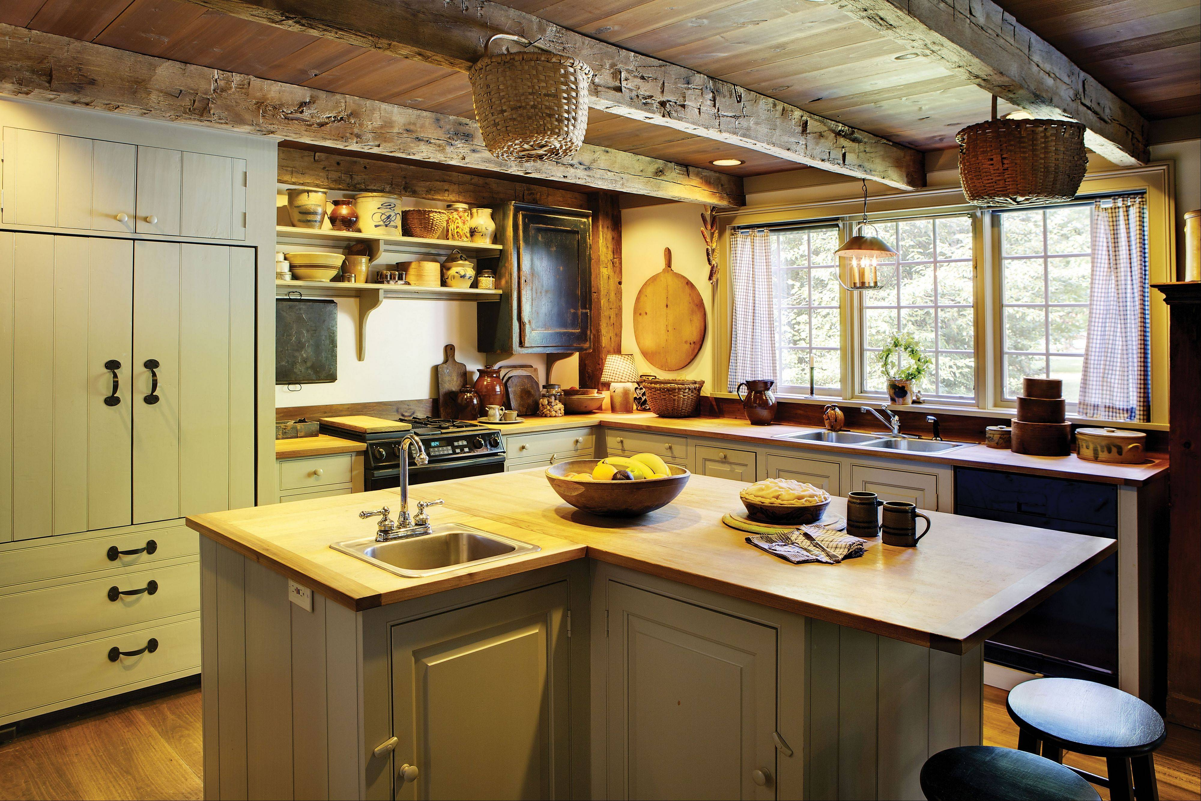 Strike A Balance: Exposed Beams And Vintage Jars And Cutting Boards  Complement The Modern Detailing