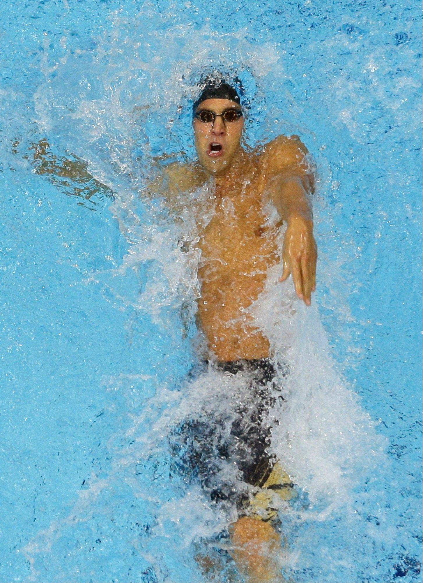 United States' Matthew Grevers competes in the men's 100-meter backstroke swimming final at the Aquatics Centre in the Olympic Park during the 2012 Summer Olympics in London, Monday, July 30, 2012.