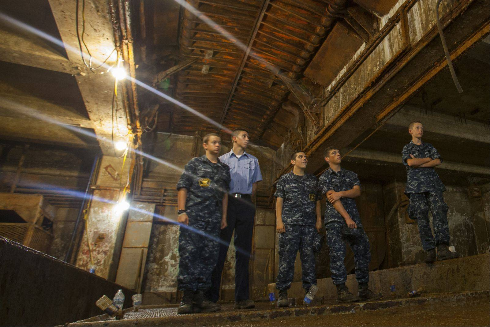 U.S. Naval Sea Cadets Christopher Kinyon, left, Chris Barbot, Andrew Matthews, Jaeger Shaffstall and Travis McCoig stand inside one of the former Nike missile magazine in Vernon Hills.
