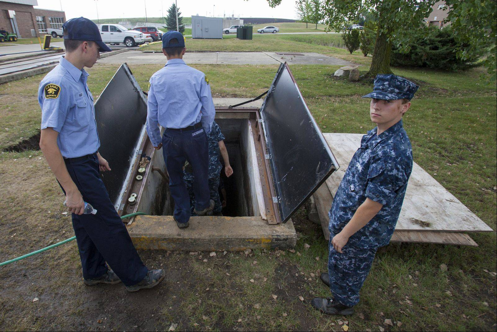 Sea Cadet Chase Lundmark waits for his fellow cadets to enter the missile magazine on the site of the former Nike missile magazine in Vernon Hills.