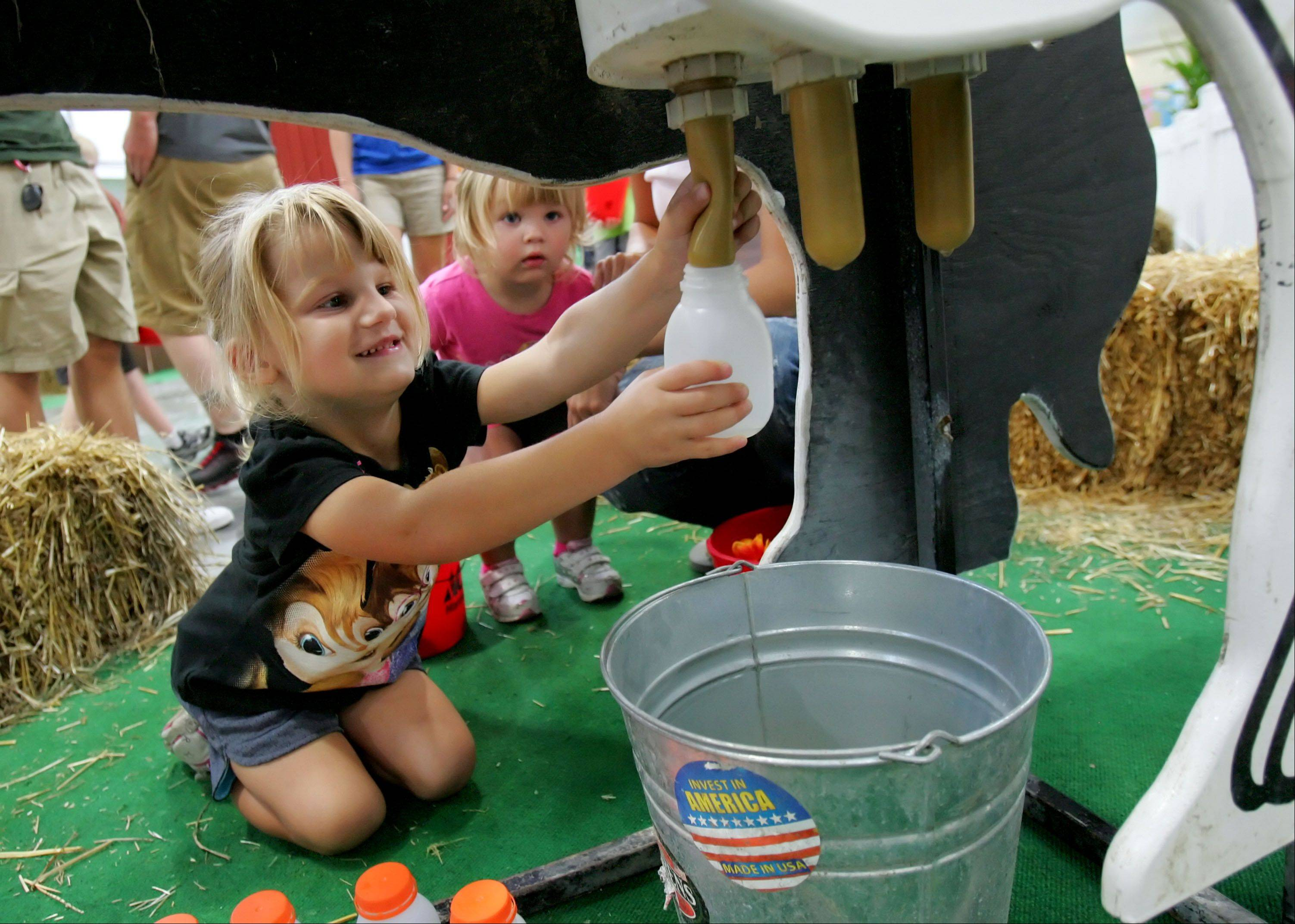 3-year-old Jordyn Davis of Grayslake, left, milks a pretend cow at the Lake County Farm Bureau's new Ag Adventure exhibit at the Lake County Fair Thursday morning in Grayslake.