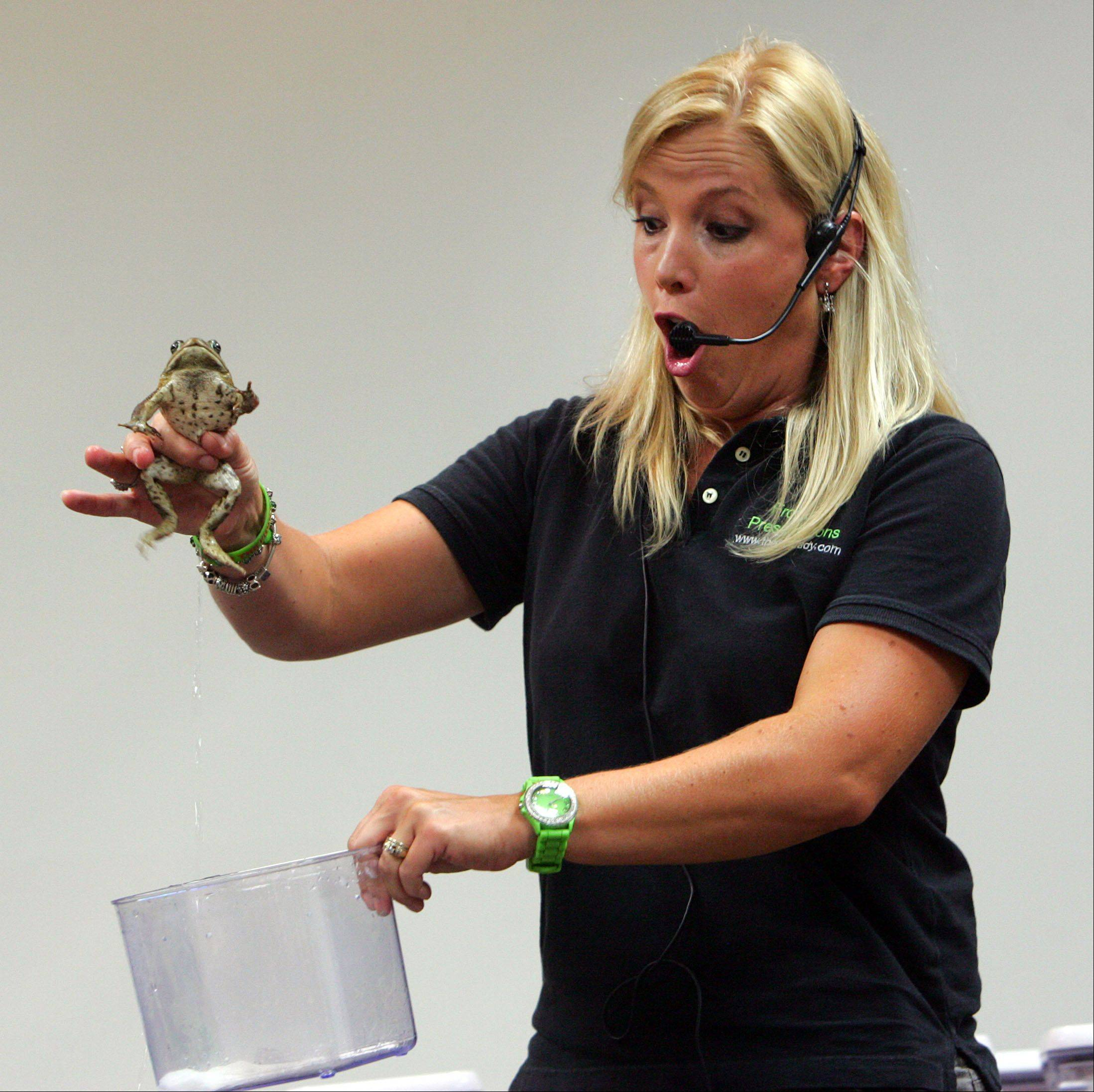 "Naturalist Deb Krohn of Gurnee, aka ""The Frog Lady"" holds an Australian cane toad as it relieves itself during a presentation at Fremont Public Library Monday night in Mundelein."
