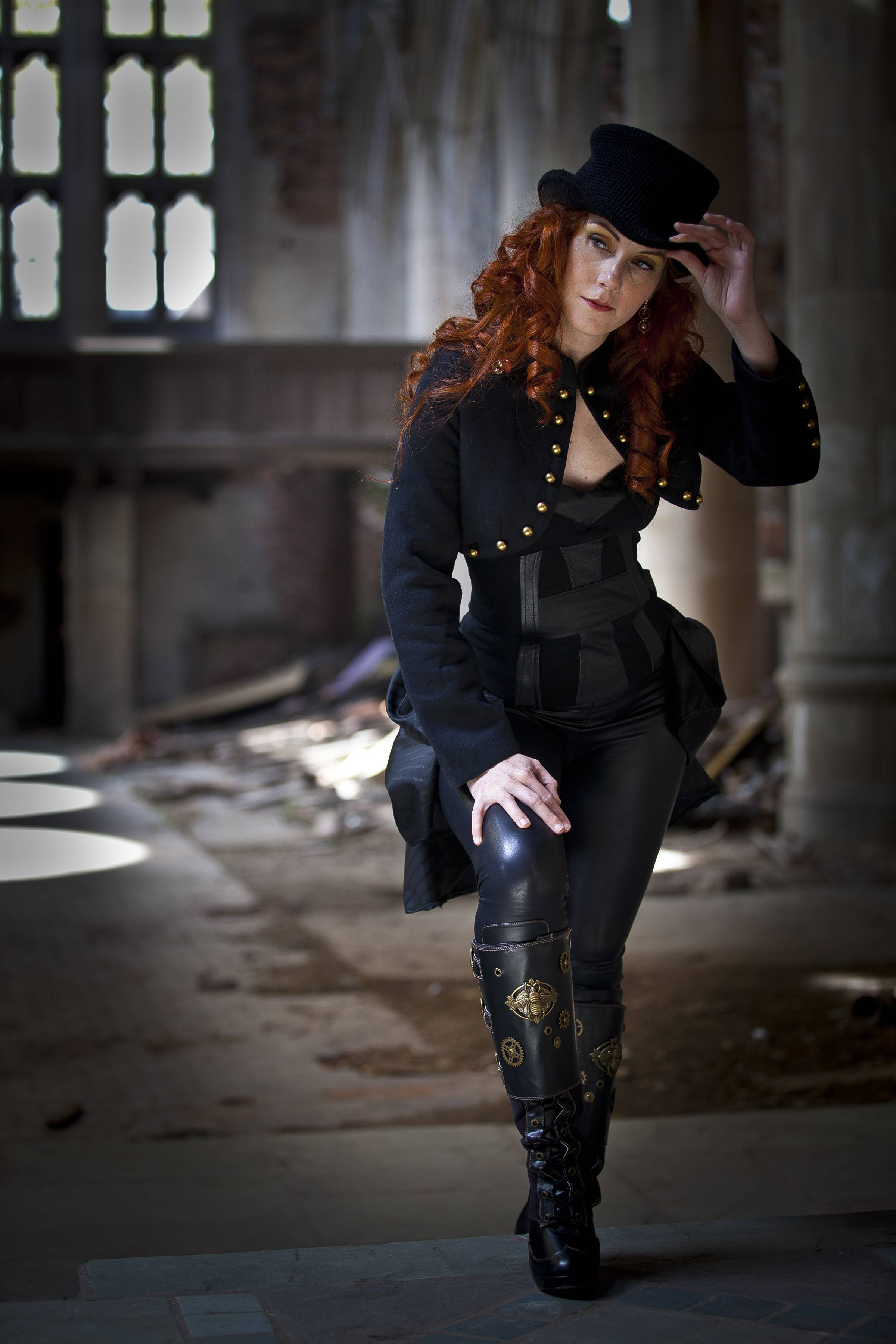 "Photographer Mike Smith's portrait ""Steampunk"" features a decorated training police officer in a character role.  She used the image as an entry in a Steampunk contest, a genre originating in the 1980s where a steam-powered era is combined with science fiction or fantasy; she is currently one of five runners-up in the contest."