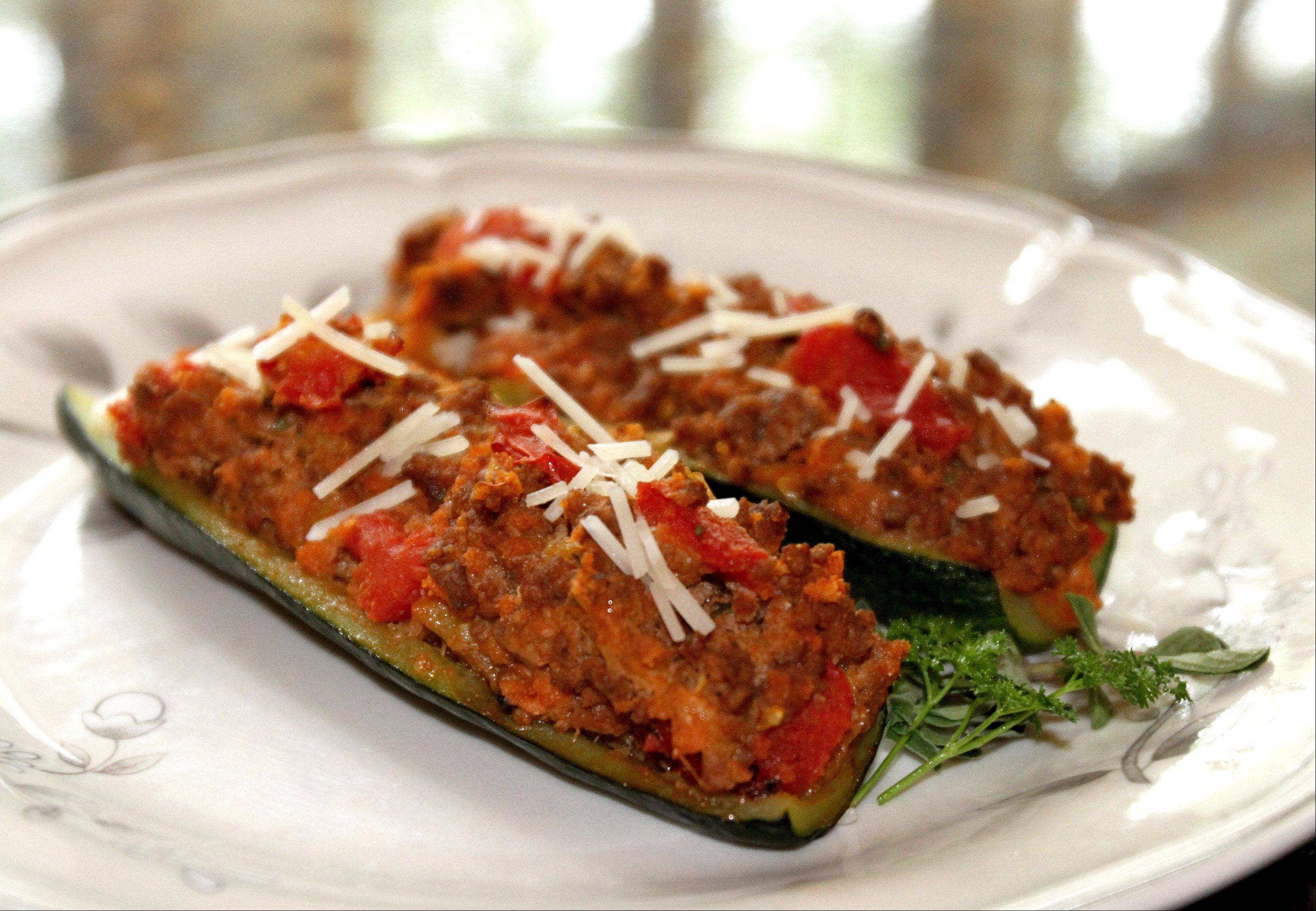 Stuffed Zucchini Baked Italian Style with Ground Beef and Fresh Herbs
