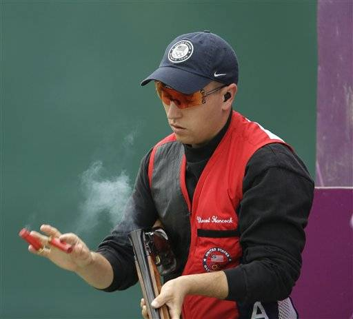 Vincent Hancock of the United States has won the gold medal in the men's skeet competition at the London Olympics, his second straight.