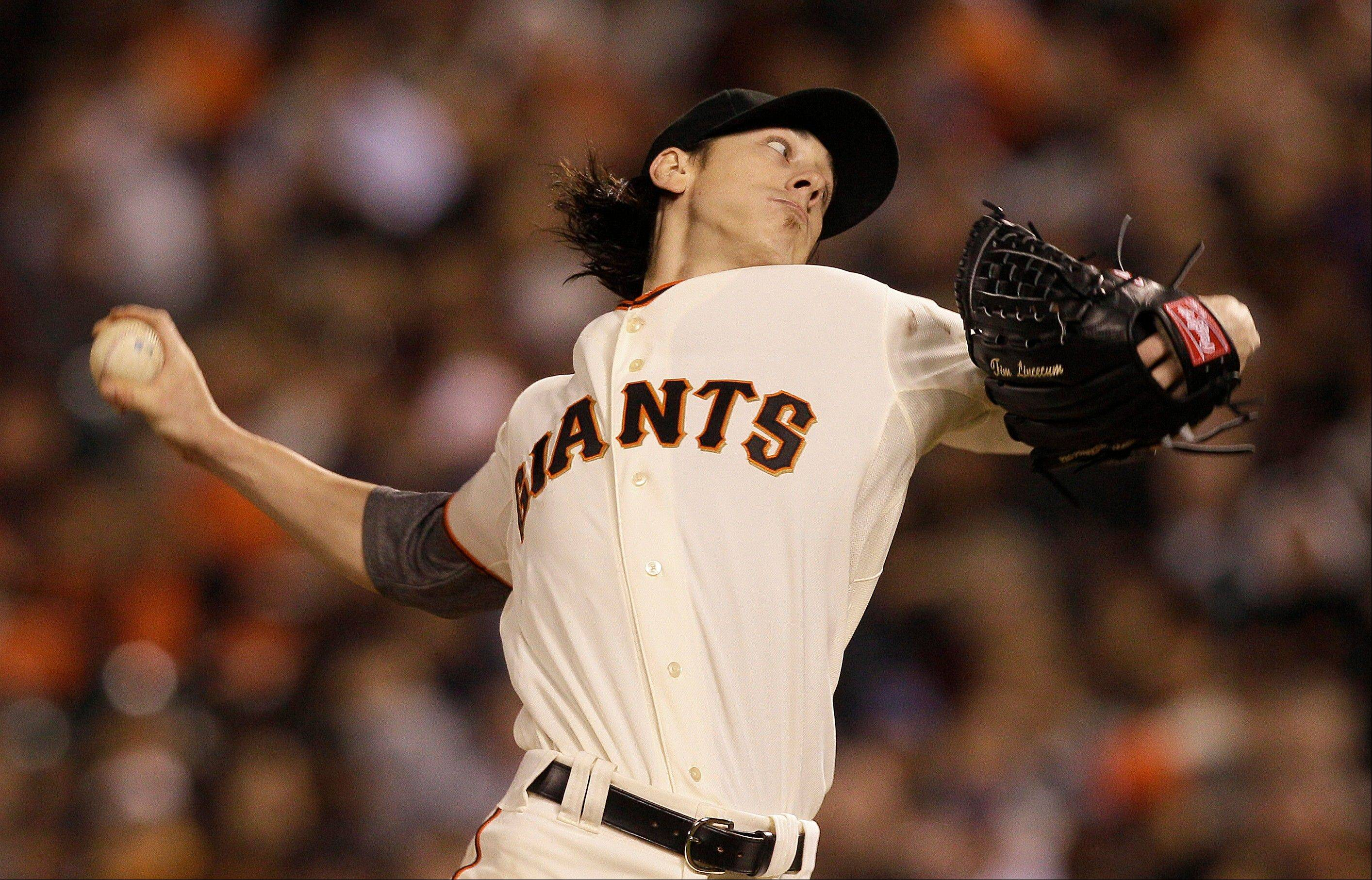 Giants pitcher Tim Lincecum delivers against the New York Mets during the seventh inning Tuesday in San Francisco.