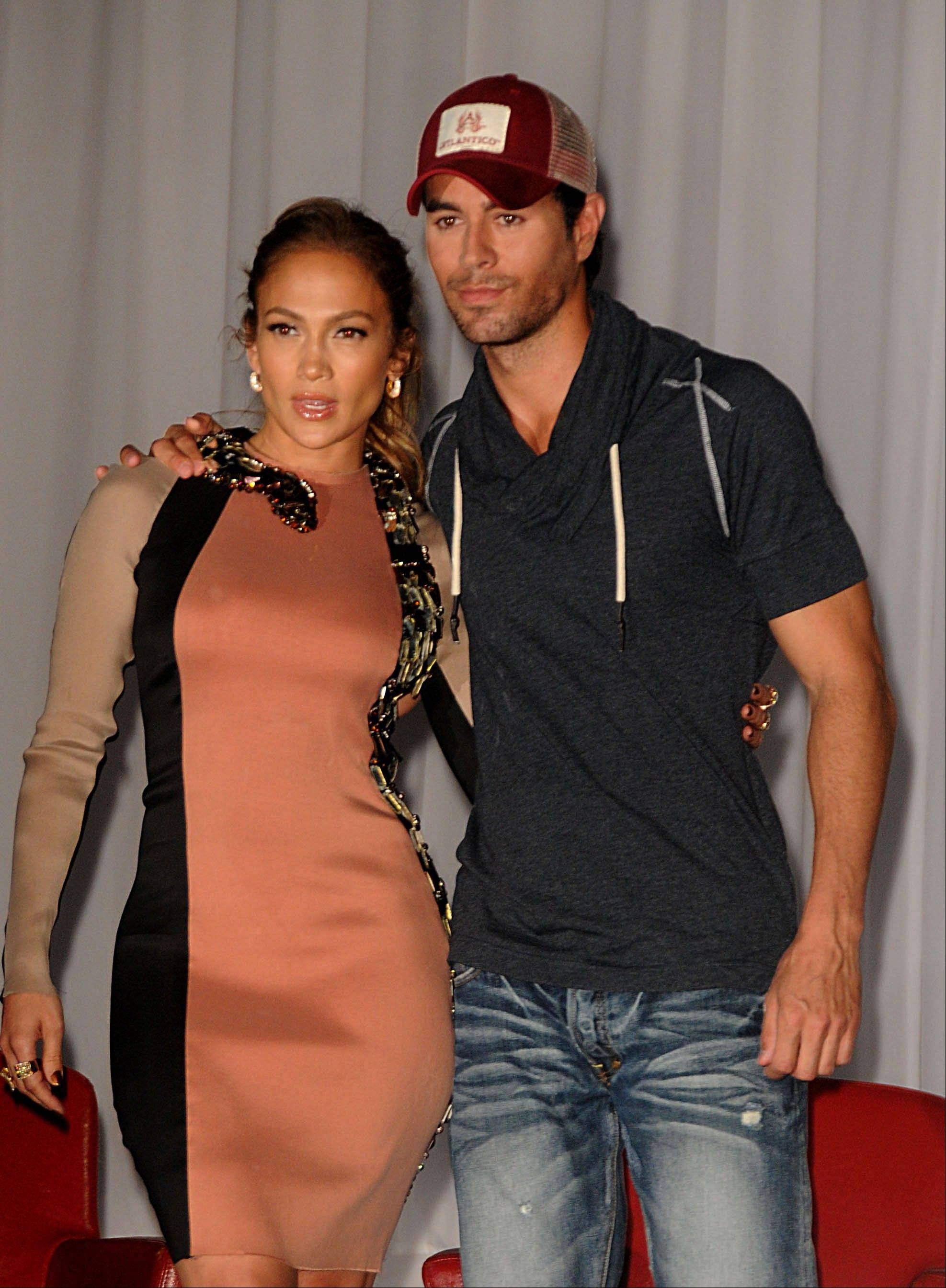 Jennifer Lopez and Enrique Iglesias appear in concert together at the United Center in Chicago on Friday, Aug. 3.