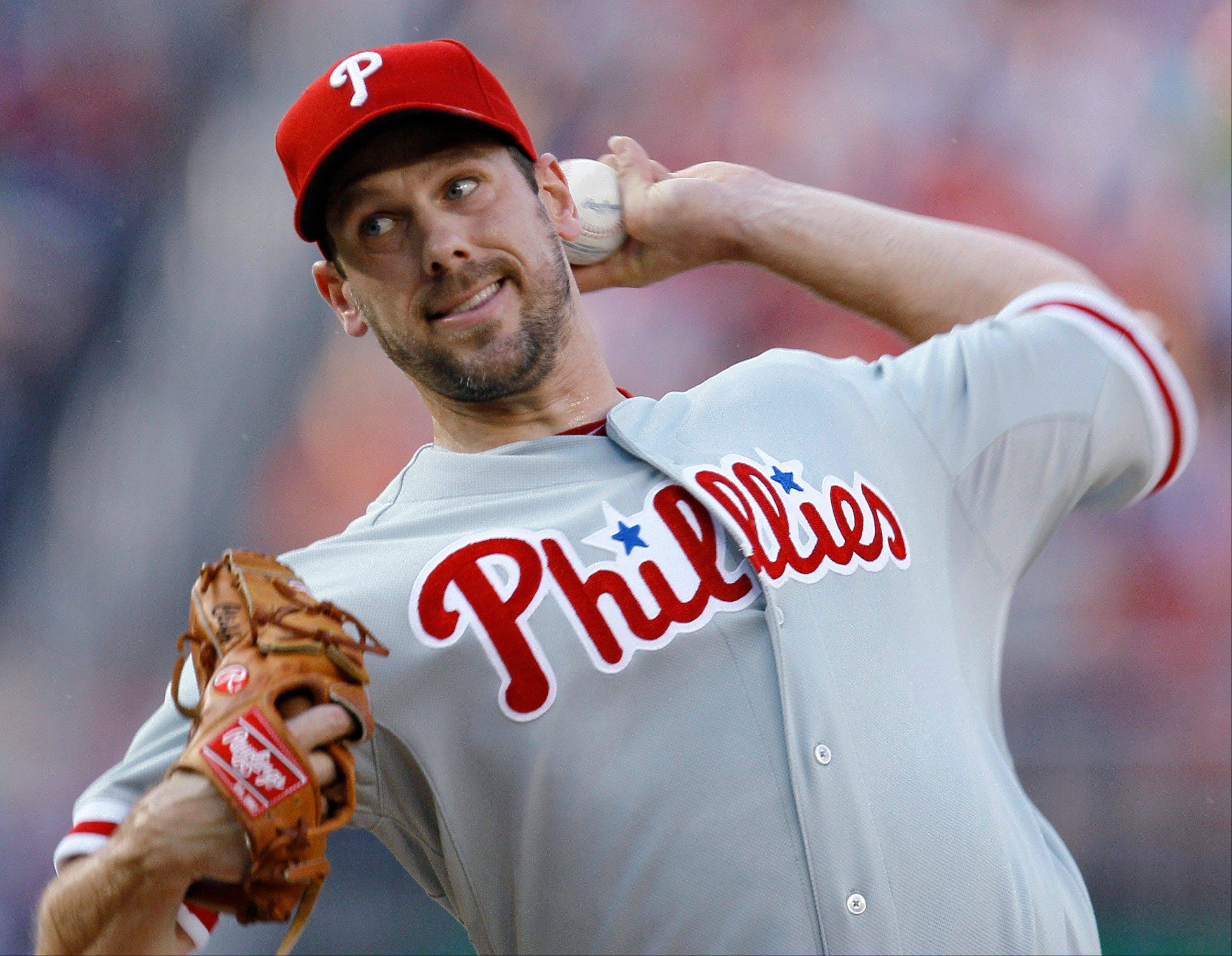 Philadelphia starting pitcher Cliff Lee allowed five hits and one walk and struck out seven in Tuesday's win in Washington.