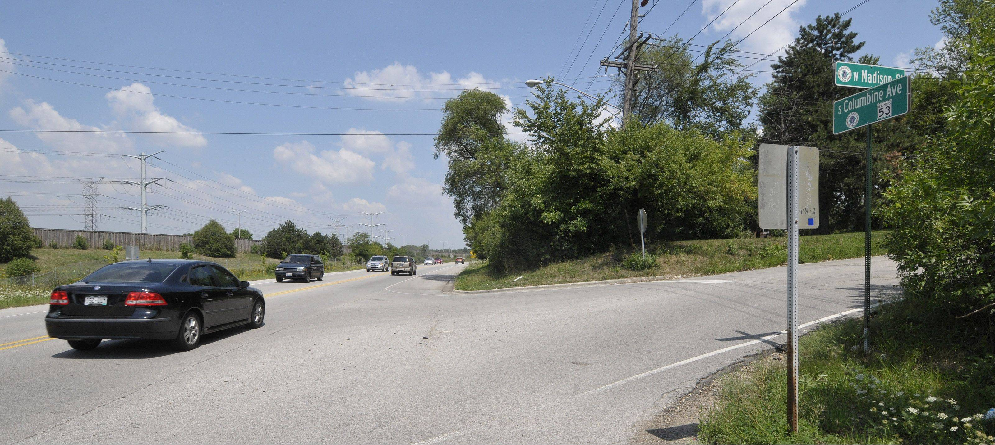 The intersection of Route 53 and Madison Street in Lombard is in store for improvements that will add two left-turn lanes and a right-turn lane from northbound Route 53 onto Madison once enough funding for the project is secured.