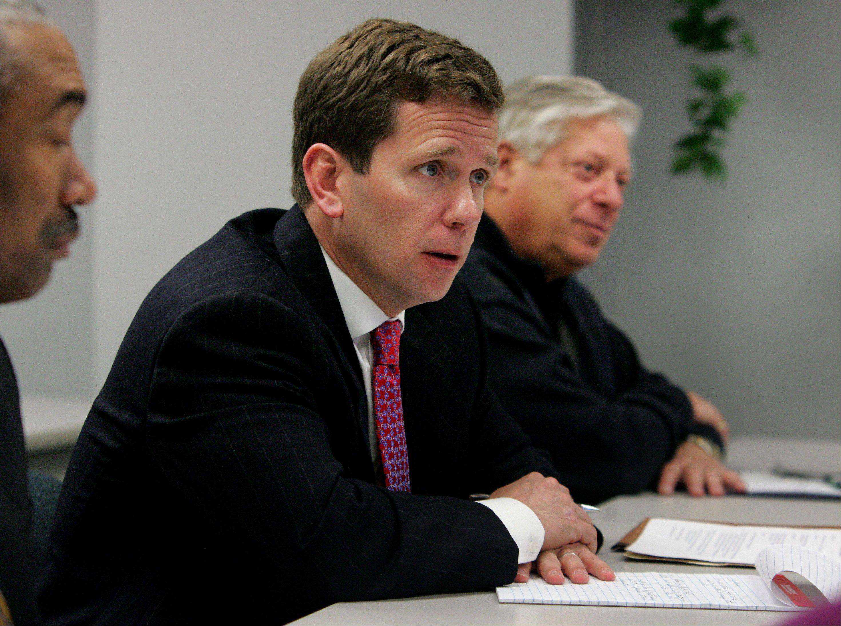 10th District U.S. Congressman Robert J. Dold is part of a congressional caucus working to curb the prescription drug abuse epidemic. He's pictured here earlier this year at a round-table discussion concerning the dangers of heroin in Lake County. School officials, law enforcement agencies, and substance abuse authorities attended the session.