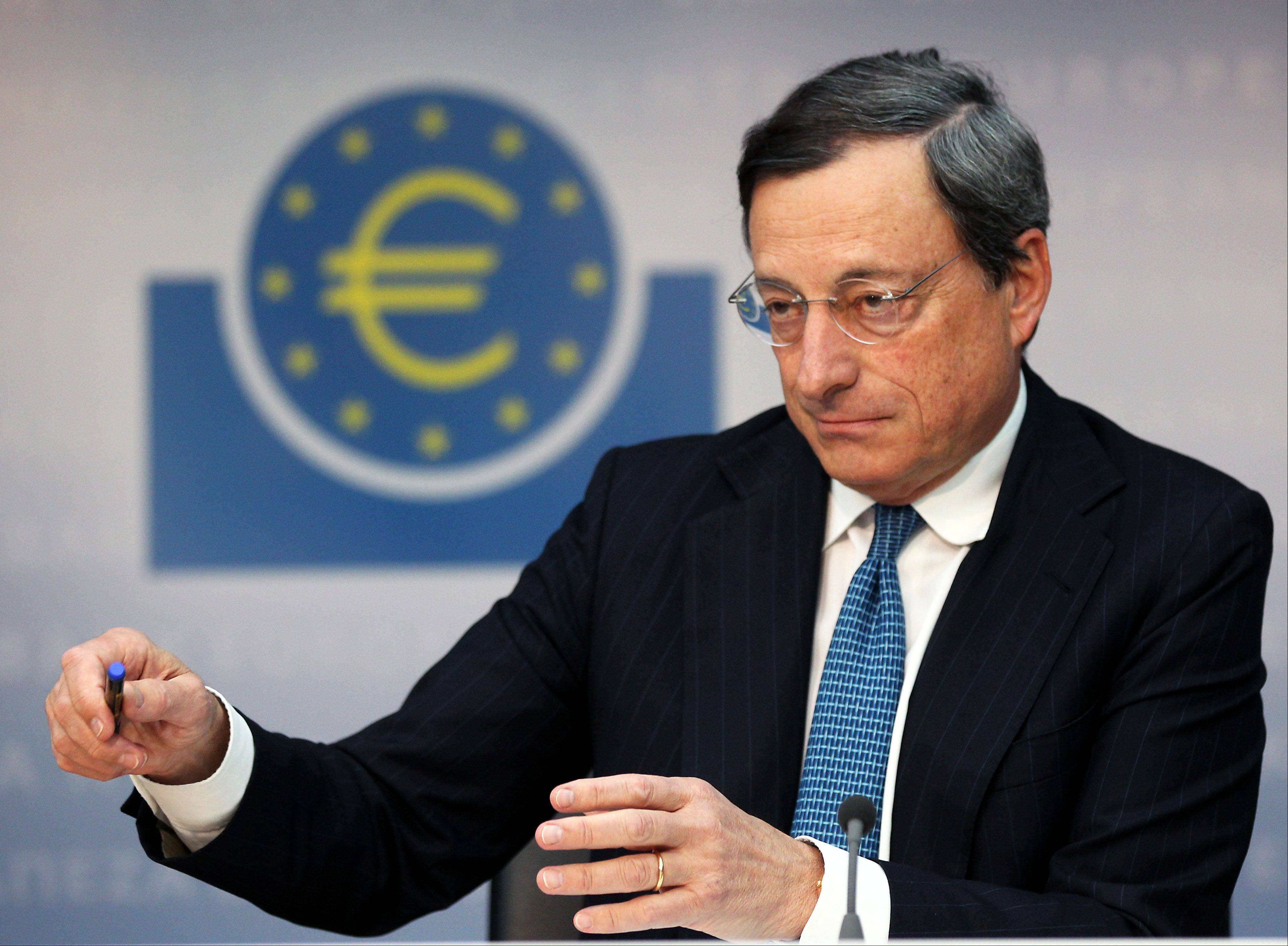 ASSOCIATED PRESSPresident of European Central Bank Mario Draghi addresses the media during a news conference in Frankfurt, Germany, Thursday, following a meeting of the ECB governing council concerning the further strategies in the European financial crisis.