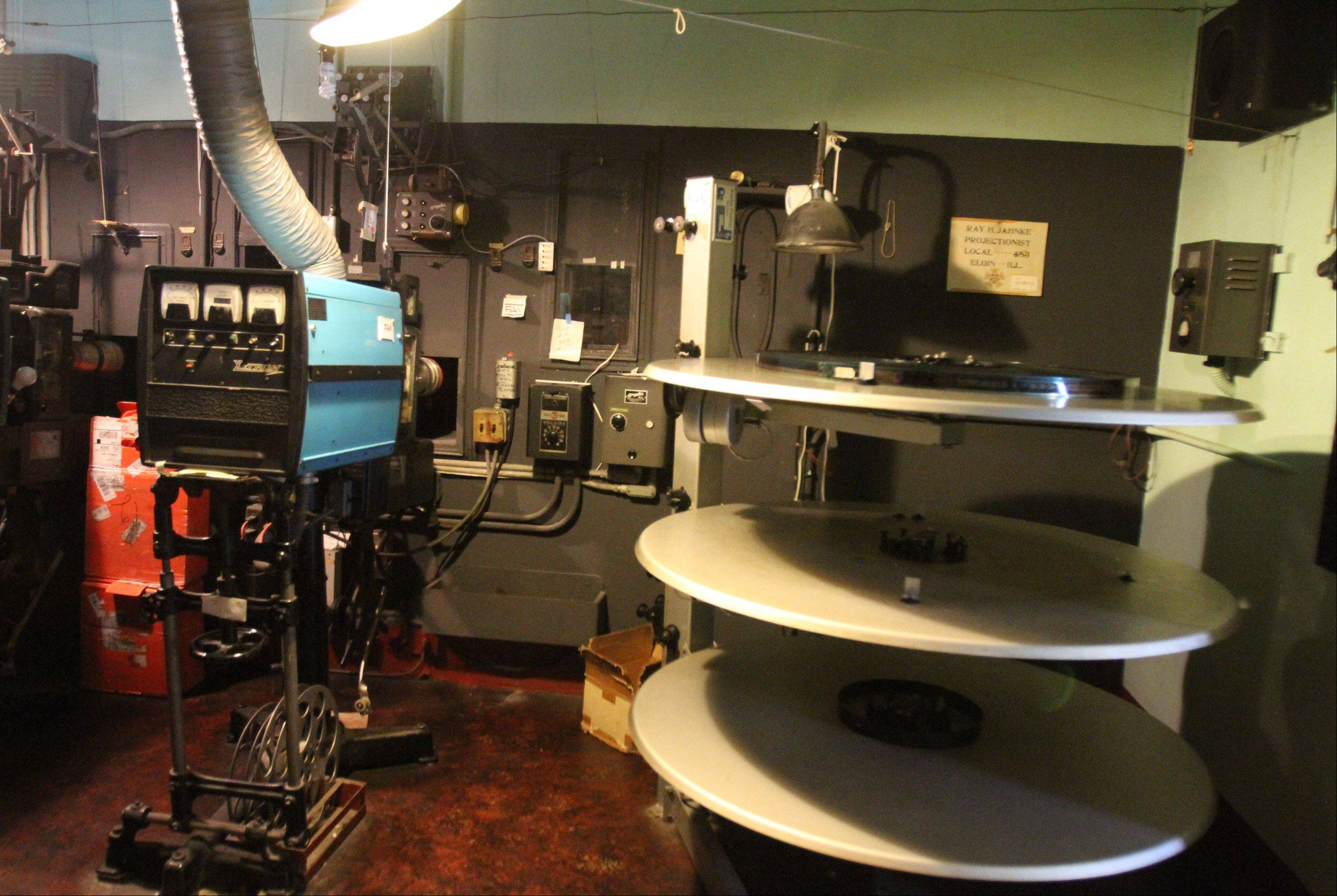 The Catlow theater co-owner Tim O'Connor said movie film is loaded onto a giant reel table that is then fed into the 10940-50s Simplex XL film projector at the theater in Barrington. O'Connor said that allows the film projector operator to show the film as one piece versus holding a new reel one-third of the way through a movie.