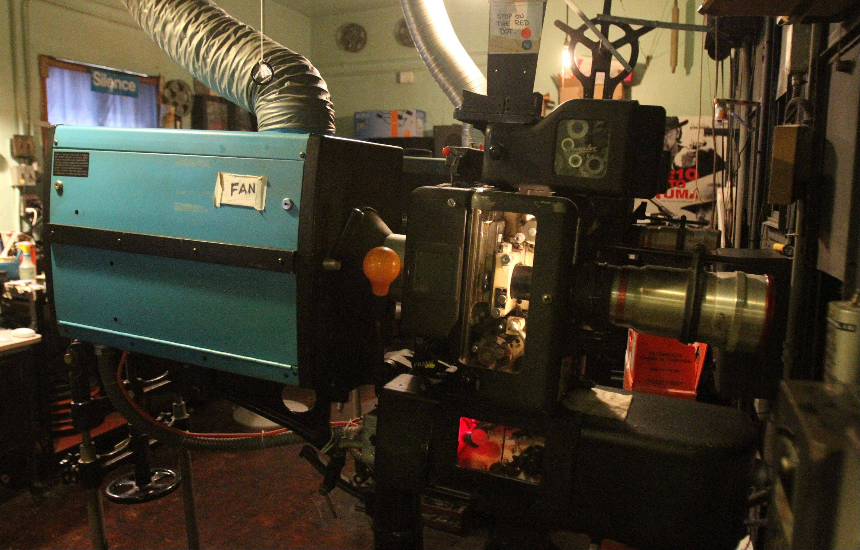 The Catlow's film projection room with the 10940-50s Simplex XL film projector that is now being used at the theater in Barrington.