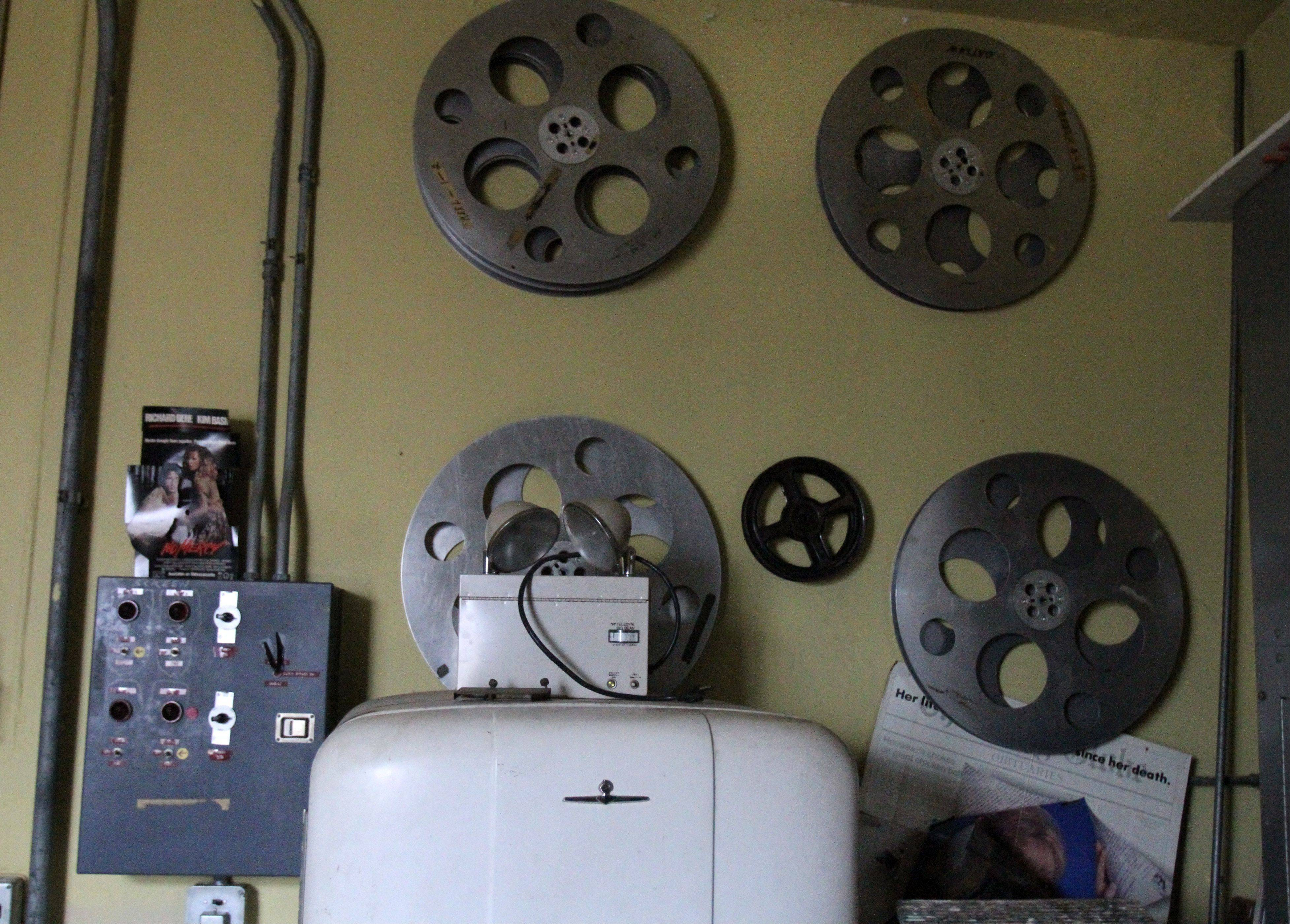Old-style giant reels are displayed in a storage room next to The Catlow's film projection room.