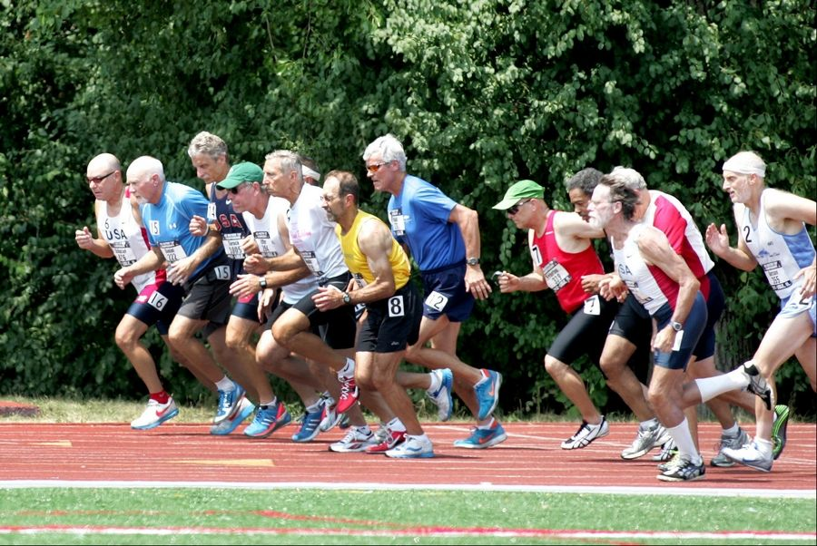 Men ages 60 to 69 take off in the 1,500-meter race at the USA Masters Track and Field Championships Thursday at the Village of Lisle-Benedictine University Sports Complex in Lisle.