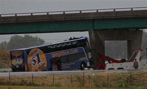 One dead, three dozen hurt in Megabus crash