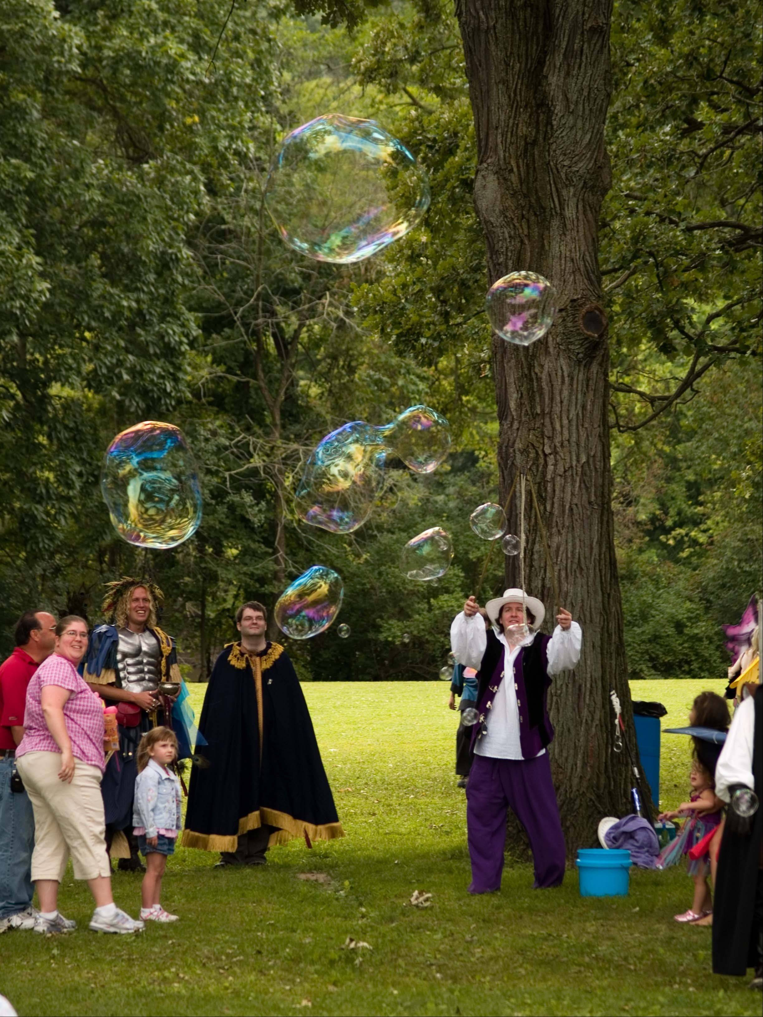 Geoff Akins wows the crowd with his Bubble Show at the 2010 festival.