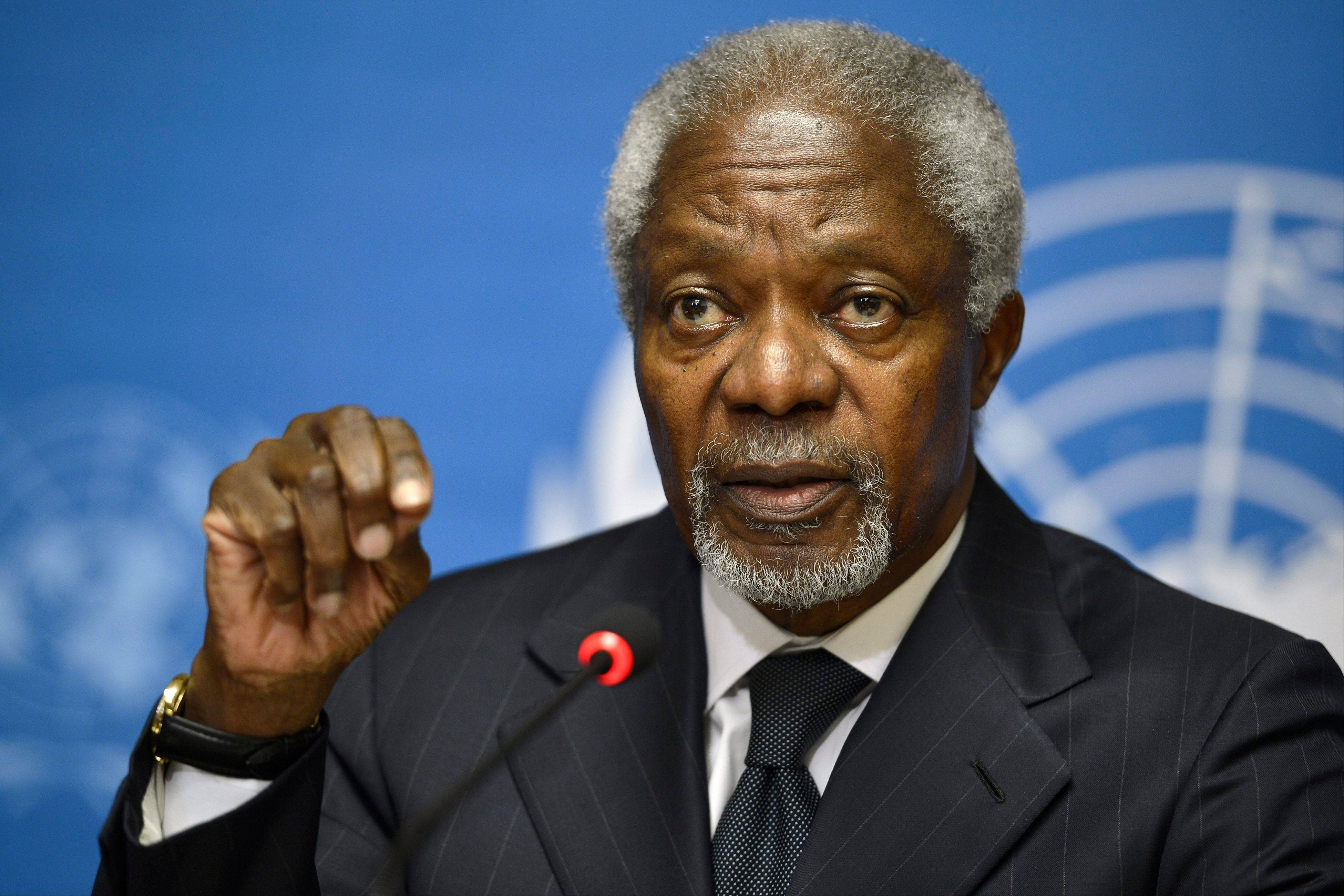 Kofi Annan, Joint Special Envoy of the United Nations and the Arab League for Syria, speaks during a press briefing, at the European headquarters of the United Nations in Geneva, Switzerland, Thursday. Annan is stepping down as U.N. Arab League mediator in the 17-month-old Syria conflict at the end of the month, U.N. chief Ban Ki-moon said in a statement on Thursday.