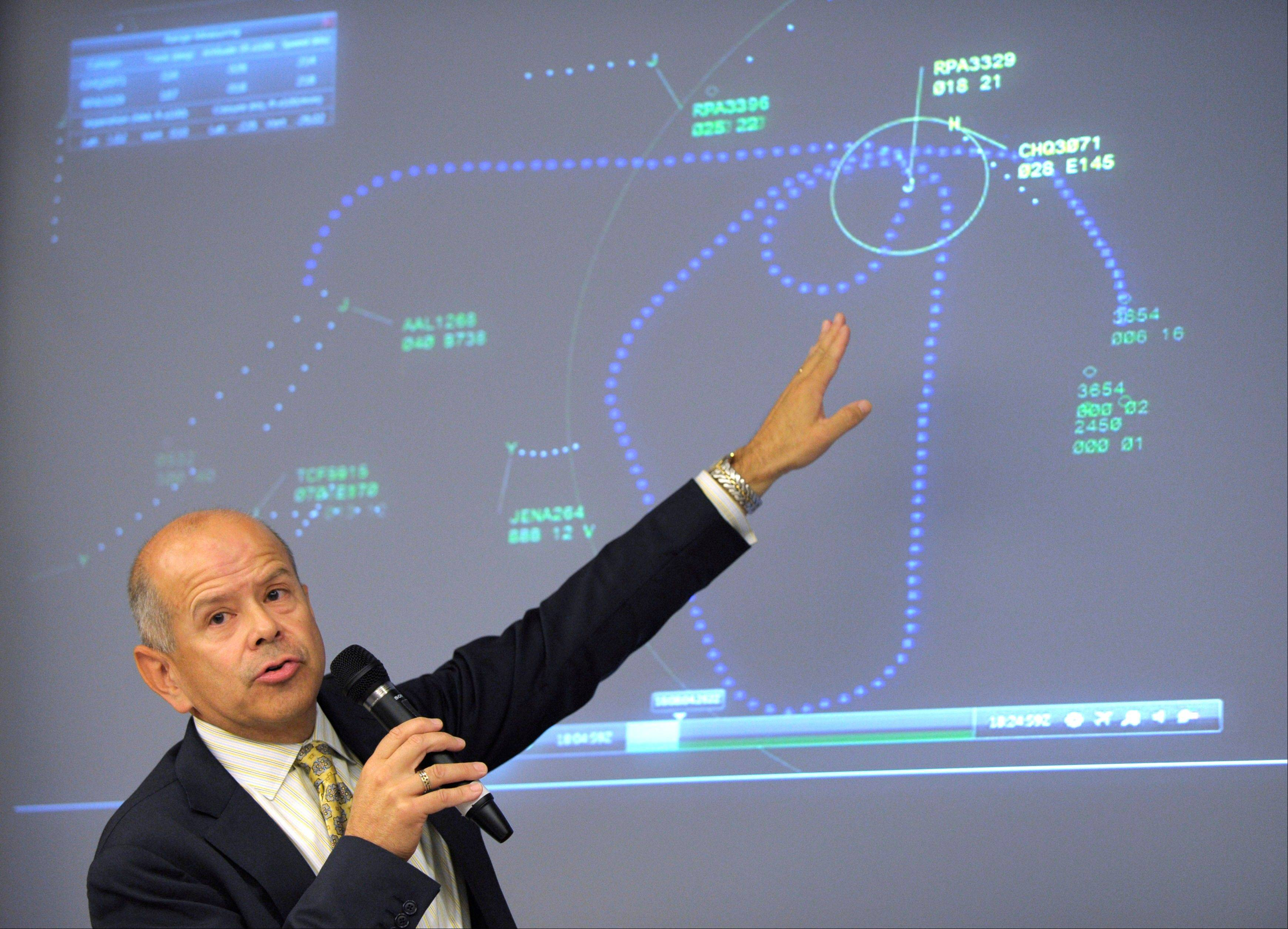 Acting Federal Aviation Administration Administrator Michael Huerta comments on a graphic of air traffic control during a news conference at the Transportation Department in Washington on Thursday. The news conference was held to answer question about three commuter jets that nearly collided at Reagan National Airport in Washington on Tuesday.