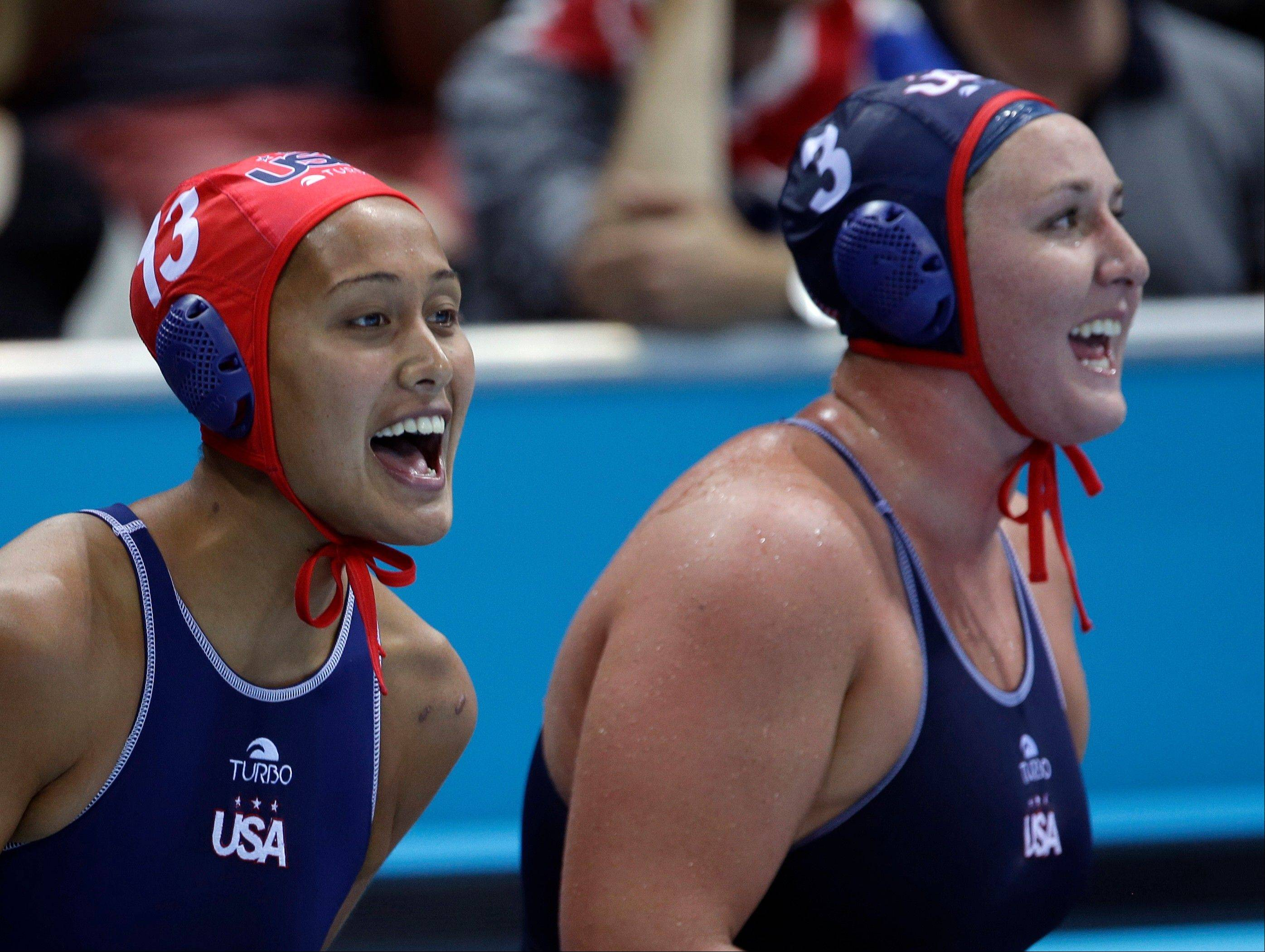 United States women's water polo athletes Tumua Anae, left, and Melissa Seidemann react during a preliminary women's water polo match against Spain Wednesday at the 2012 Summer Olympics.