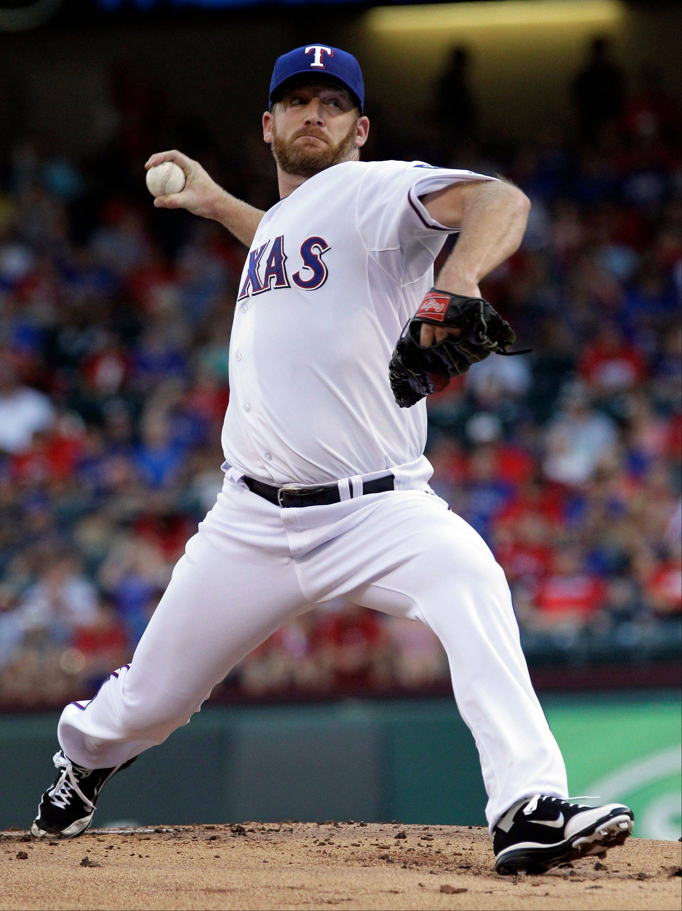 The Angels tagged starter Ryan Dempster for eight runs on nine hits in 4 2/3 innings Thursday in his Texas debut.
