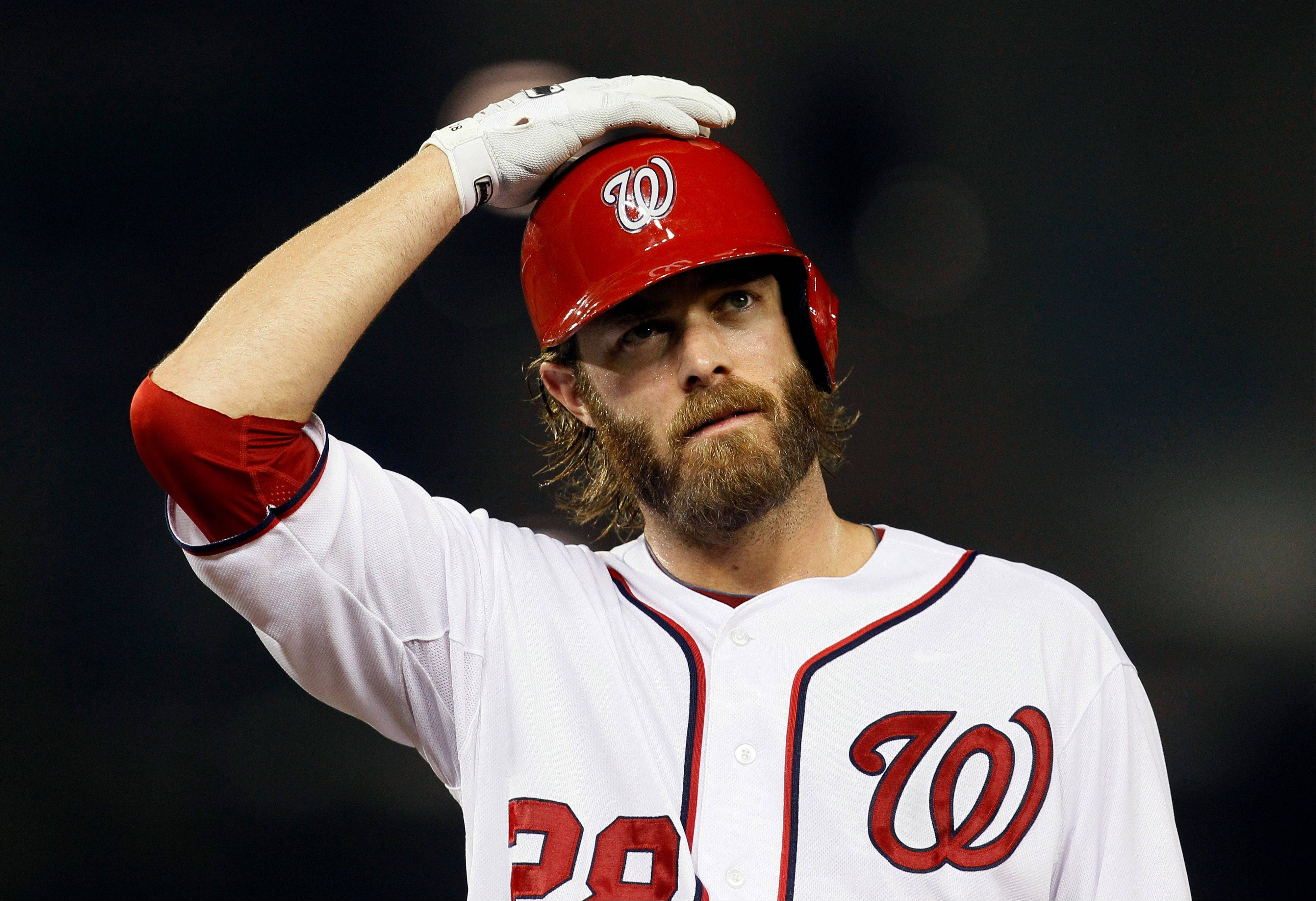 The Nationals' Jayson Werth walks back to first base during the eighth Thursday against the Phillies in Washington. Nearly three months ago, Werth broke his left wrist in a loss to Philadelphia.