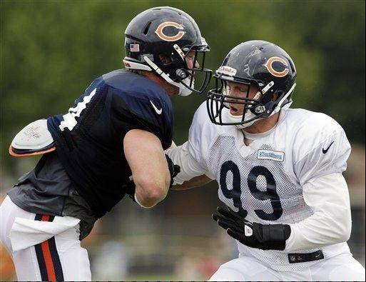 First-round defensive end Shea McClellin had his best practice yet, intercepting a pass and showing better pass-rush presence than he had in earlier practices.