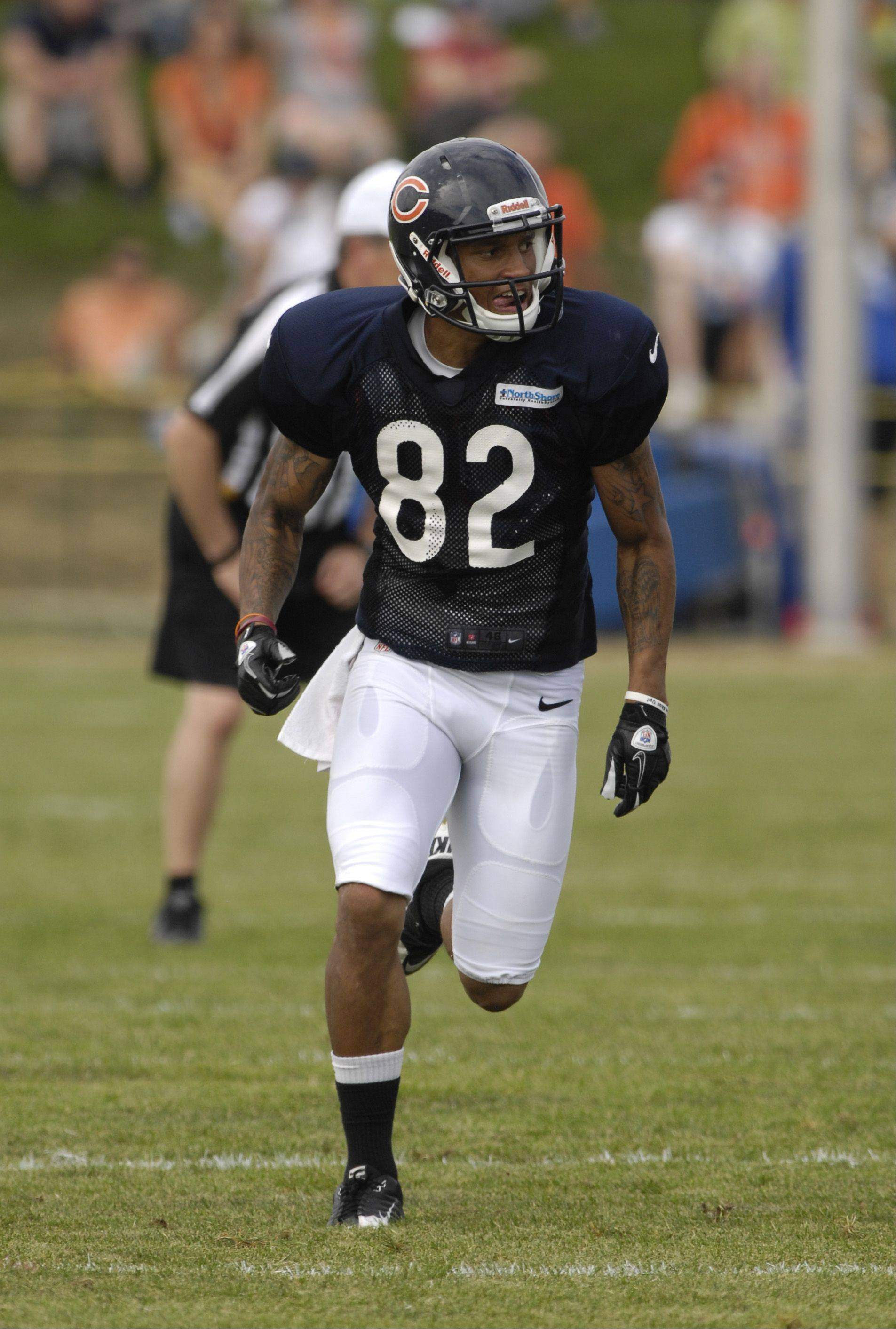 Mark Black/mblack@dailyherald.comBrittan Golden works out during Chicago Bear training camp at Olivet Nazarene University in Bourbannais, IL on August 2, 2012,
