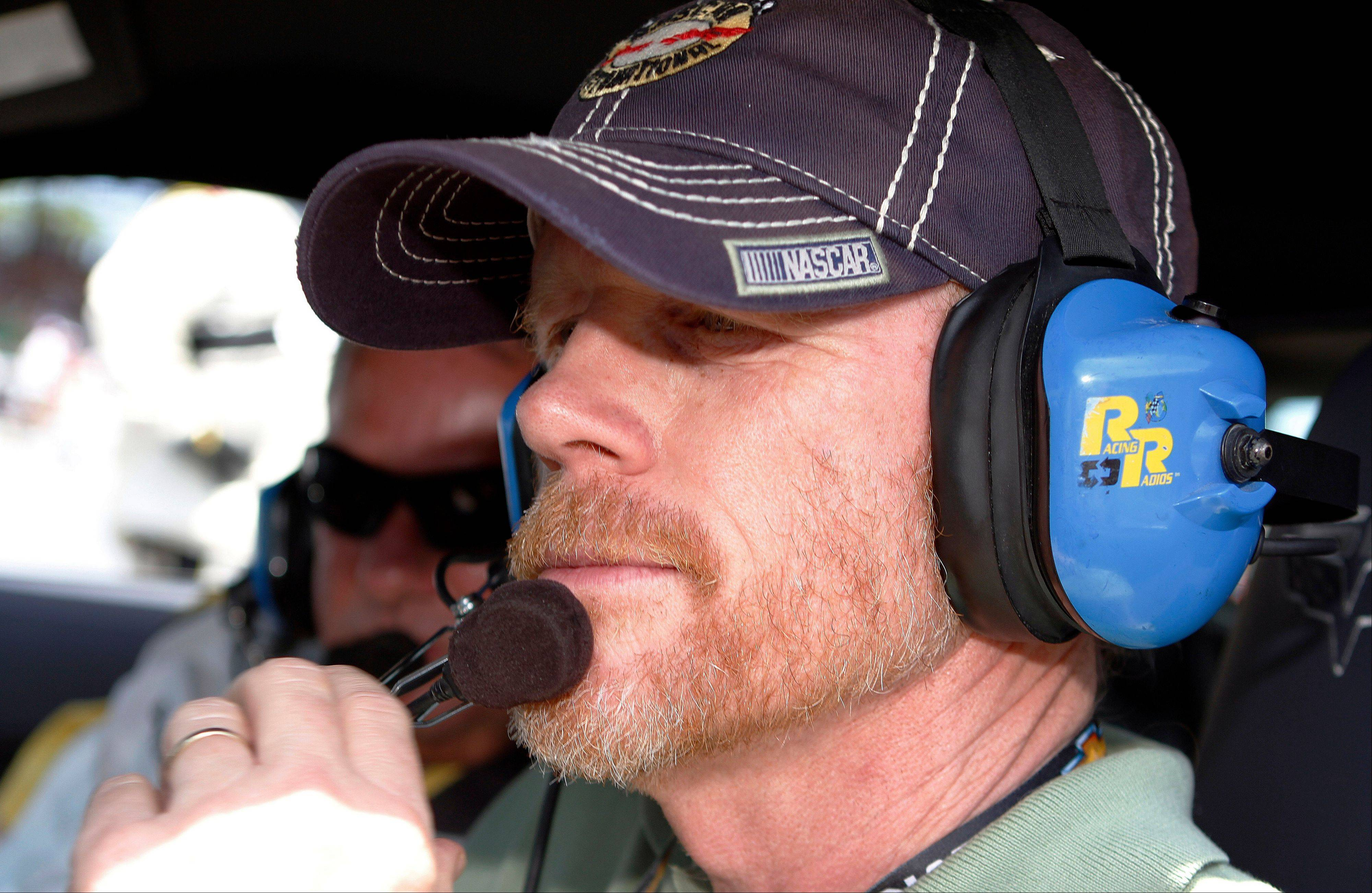 Director Ron Howard prepares to drive the pace car for the start of the NASCAR Sprint Cup Series Brickyard 400 auto race at Indianapolis Motor Speedway Sunday.