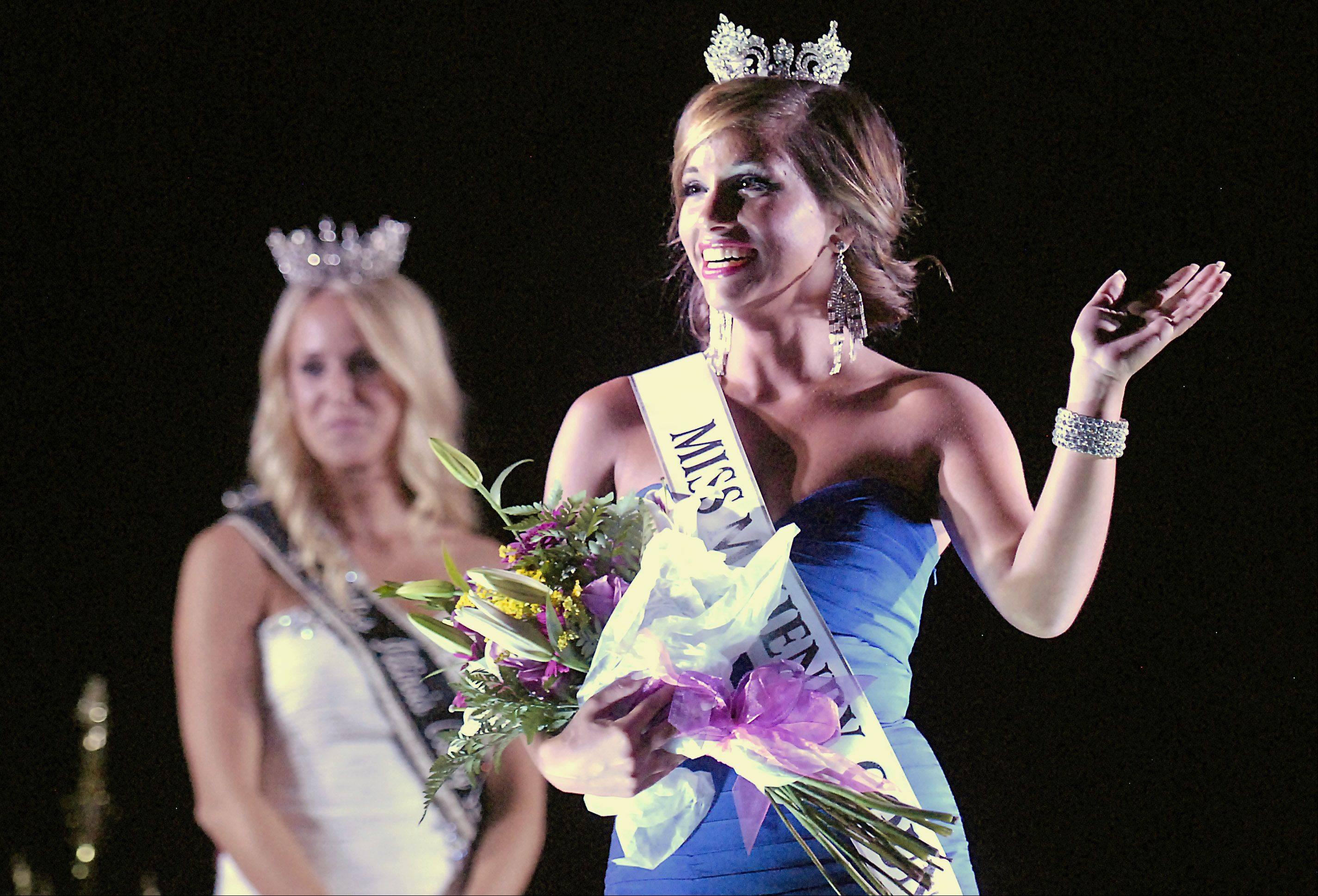 Samantha Bolet,17, of Lake in the Hills wins the crown in the 2012 Miss McHenry County Queen pageant. 2012 Miss Illinois County Fair Queen Brittani Schisler, left, was on hand to help with the festivities.