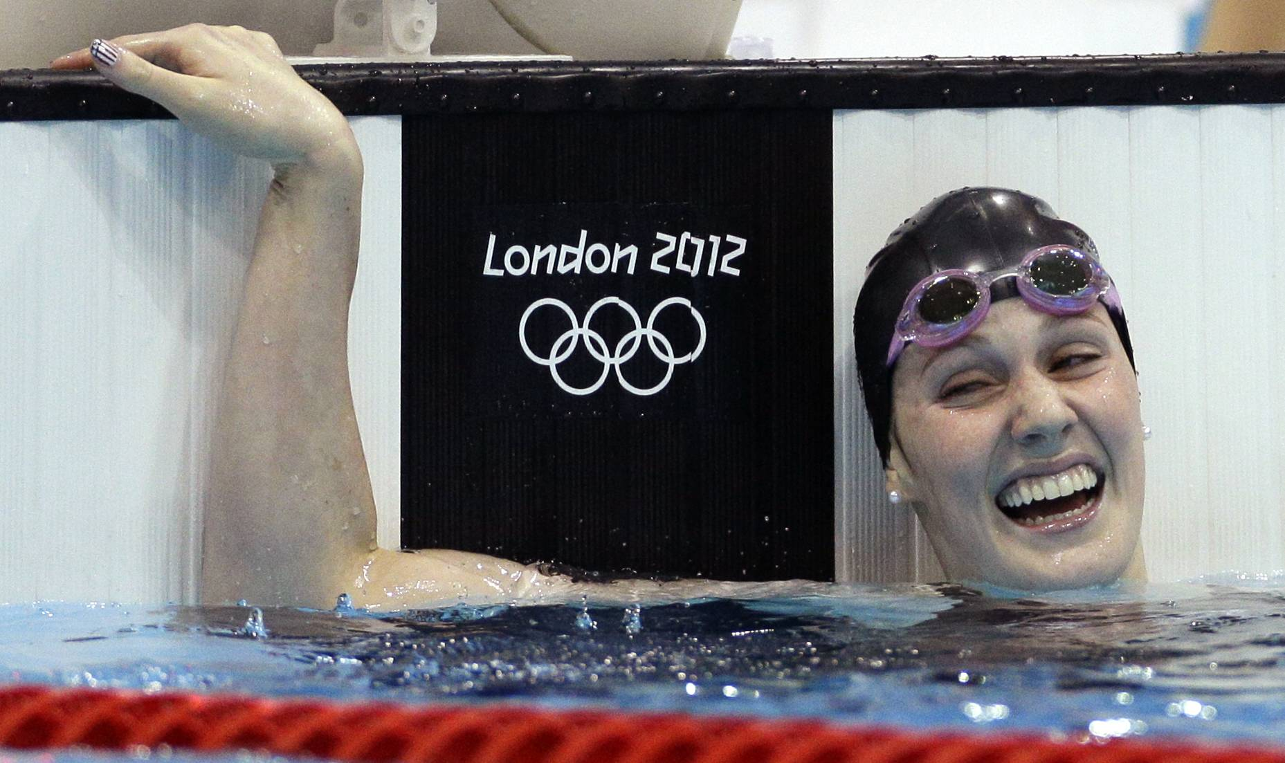 Missy Franklin reacts Friday to her gold medal win in the women's 200-meter backstroke final at the Aquatics Centre in the Olympic Park .