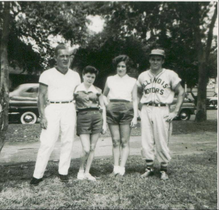 Ken Black, far right, and his wife, Teresa, with friends in the earlier days of his 72-year baseball career.