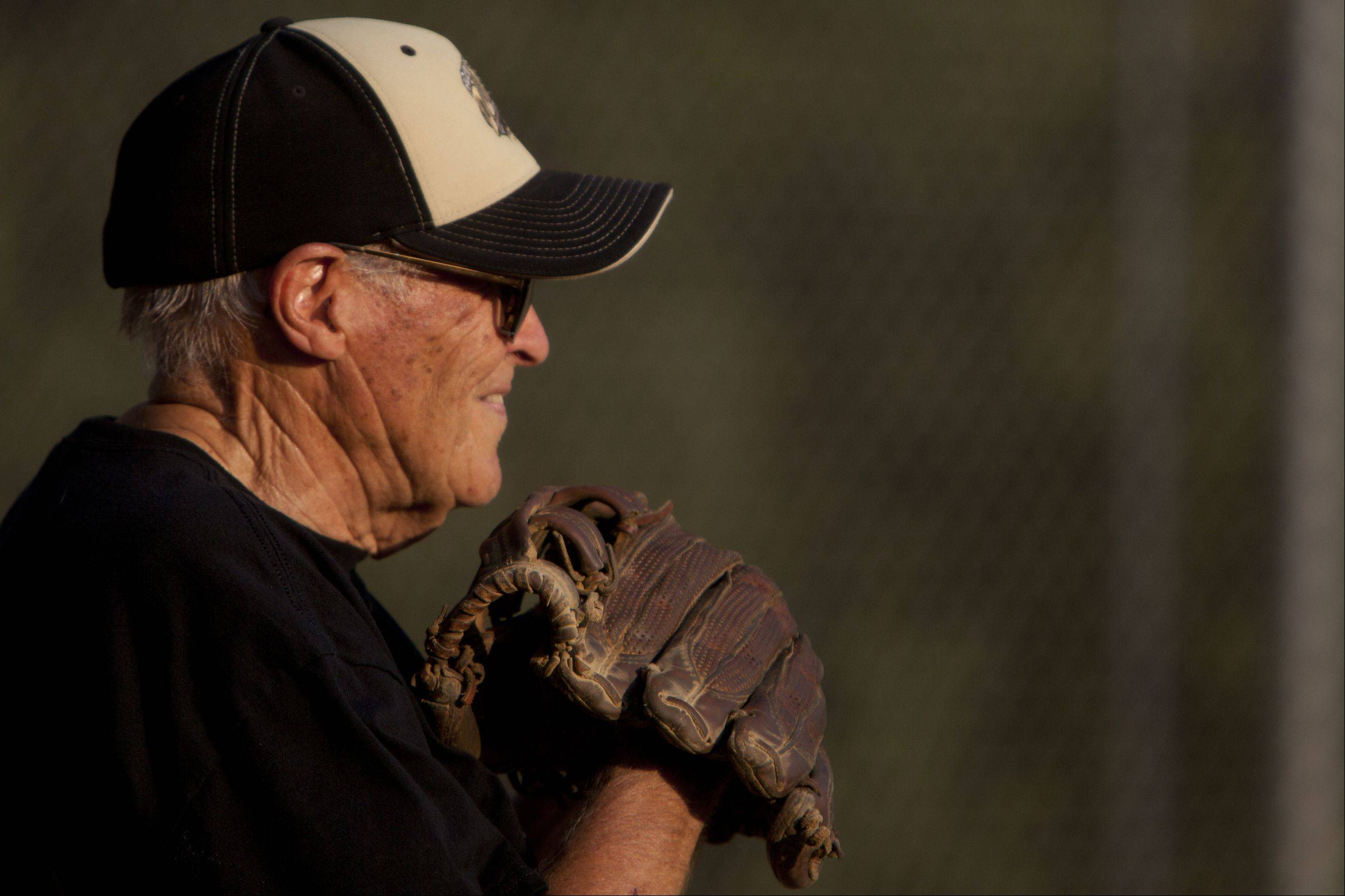 Ken Black, 82, the oldest member of the Chicagoland Legends Softball League gets ready for a pitch.